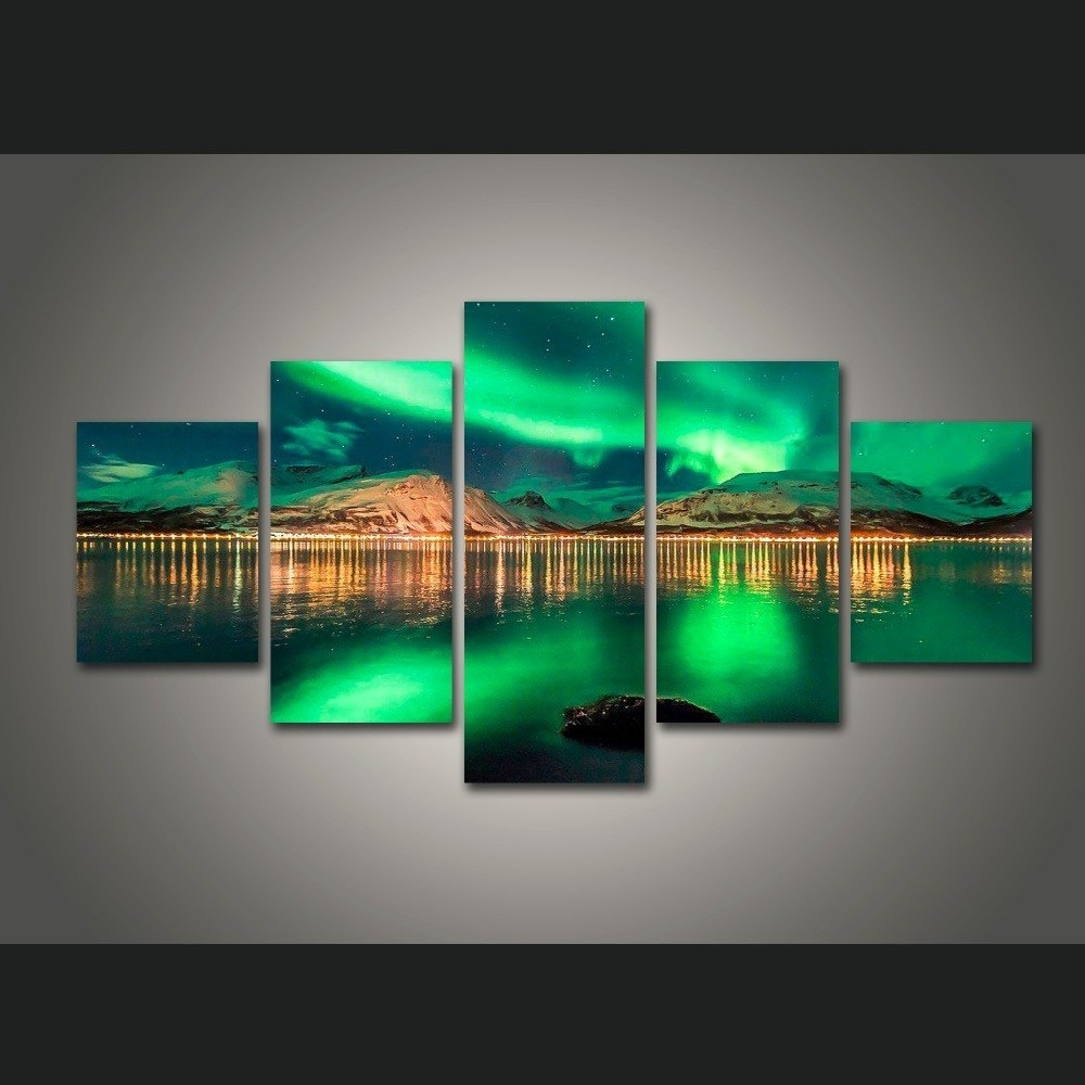 5 Piece Canvas Art Colorful Aurora Borealis Painting Decorations For in 5 Piece Wall Art (Image 7 of 20)