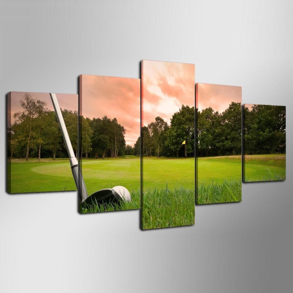 5 Piece Canvas Art Hd Print Canvas Room Home Decor Wall Art Hd Golf Intended For Golf Canvas Wall Art (Photo 7 of 20)