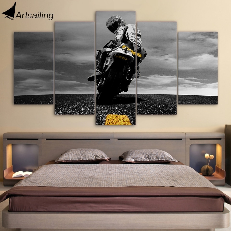 5 Piece Canvas Art Motorcycle Poster Painting Framed Wall Art Canvas pertaining to Framed Wall Art For Living Room (Image 3 of 20)