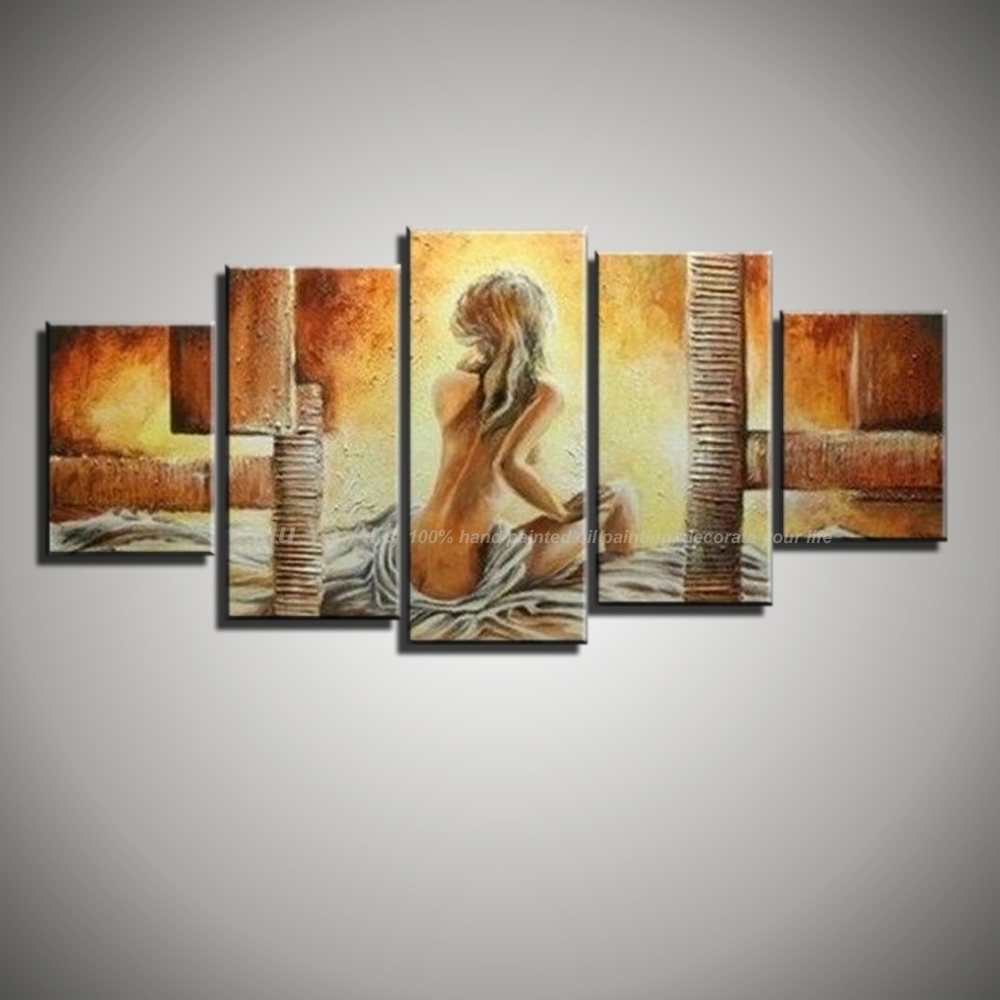 5 Piece Canvas Wall Art Modern Abstract Sexy Love Hand Painted in 5 Piece Wall Art (Image 8 of 20)