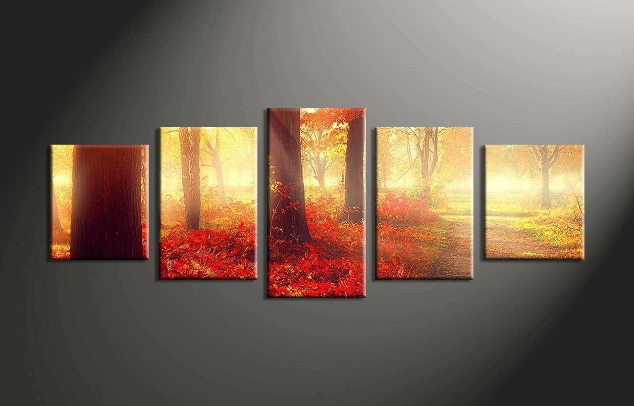 5 Piece Canvas Wall Art New 5 Piece Red Autumn Nature Scenery Canvas Within 5 Piece Canvas Wall Art (Photo 18 of 20)
