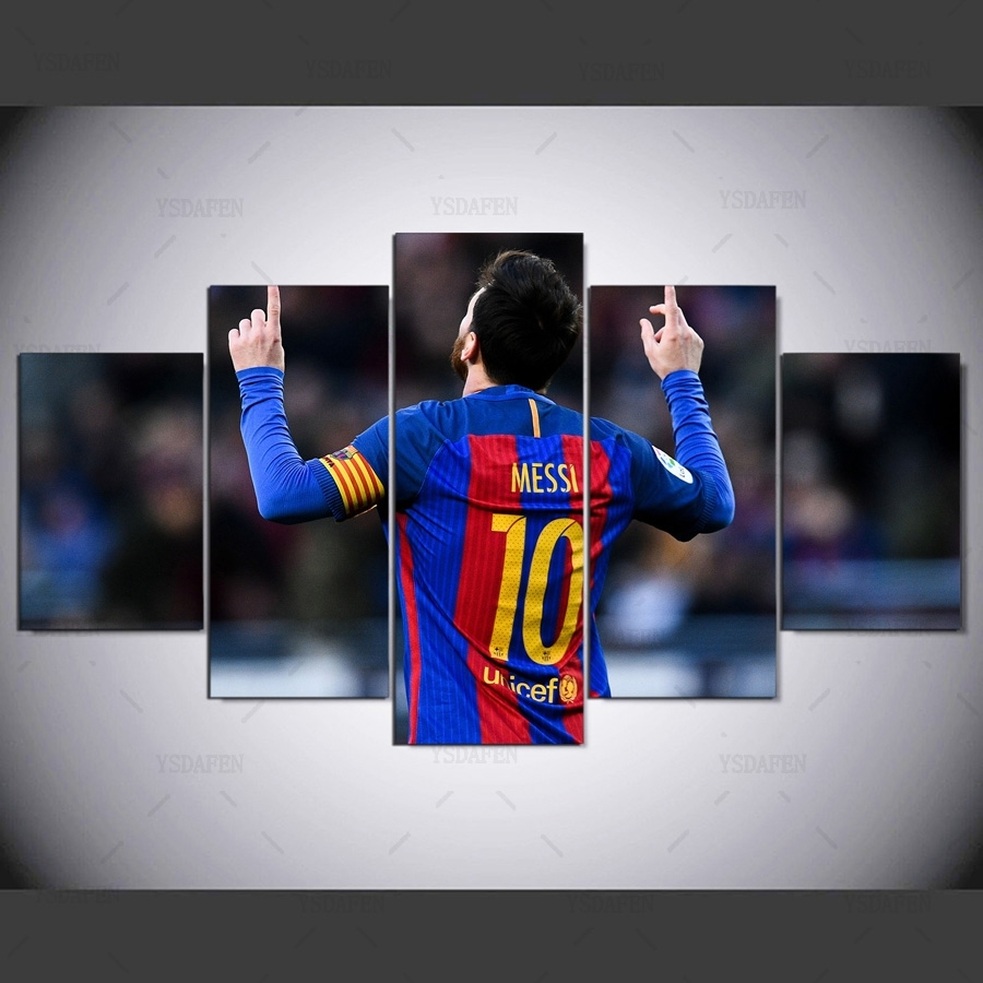 5 Piece Fc Barcelona Messi Canvas Printed Painting For Living Intended For Five Piece Canvas Wall Art (Photo 8 of 20)