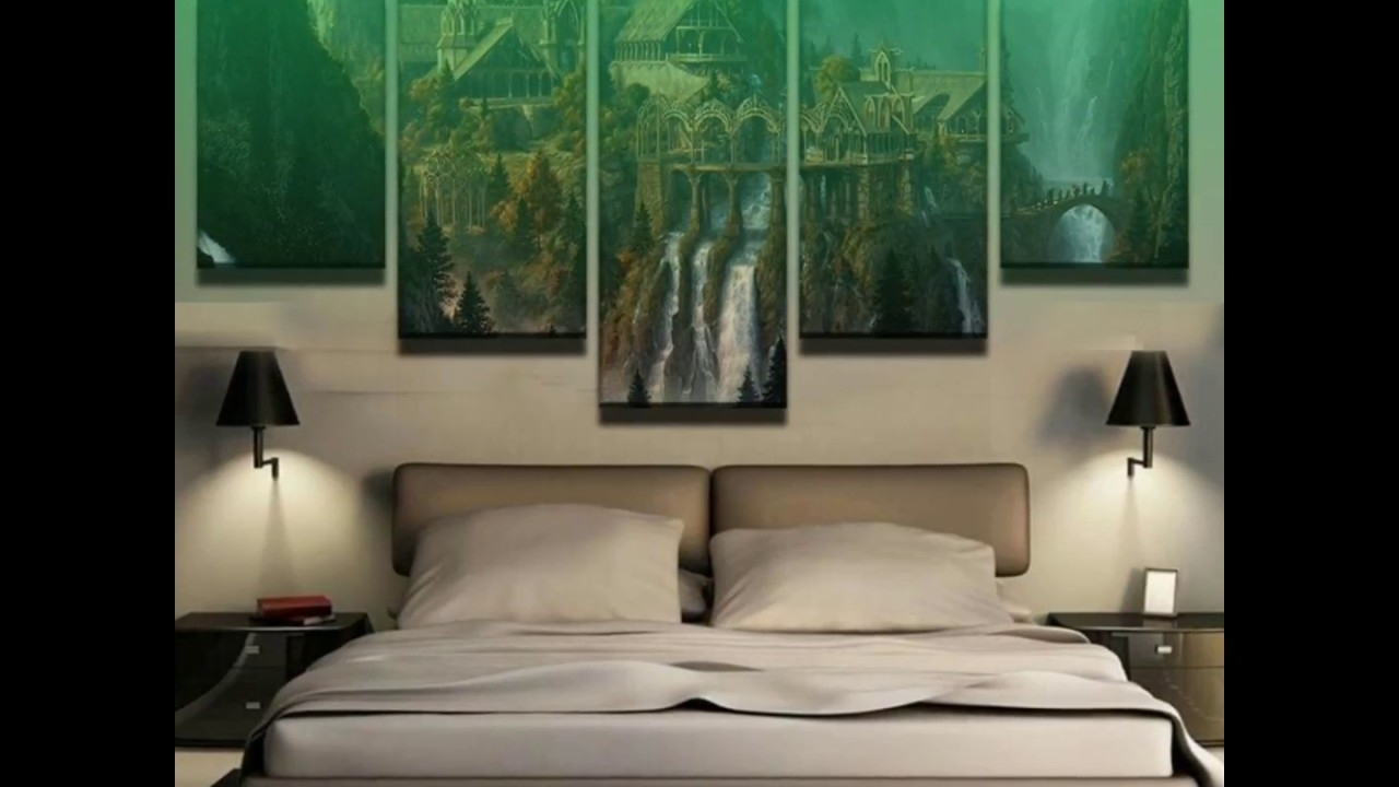 5 Piece Lord Of The Rings Rivendell Canvas Wall Art Paintings   Youtube Pertaining To Lord Of The Rings Wall Art (Photo 11 of 20)