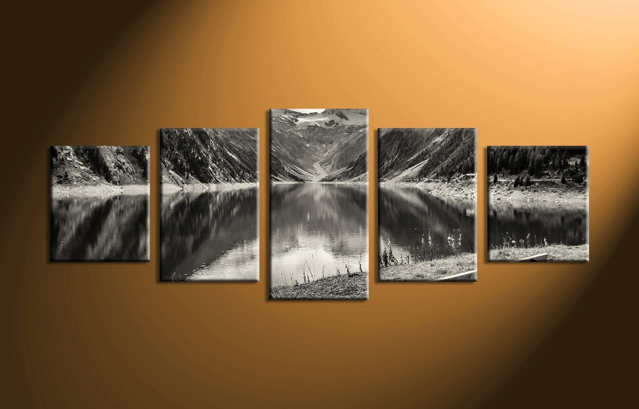 5 Piece Mountain Black And White Large Canvas, Multi Piece Wall Art throughout Multi Piece Wall Art (Image 7 of 20)