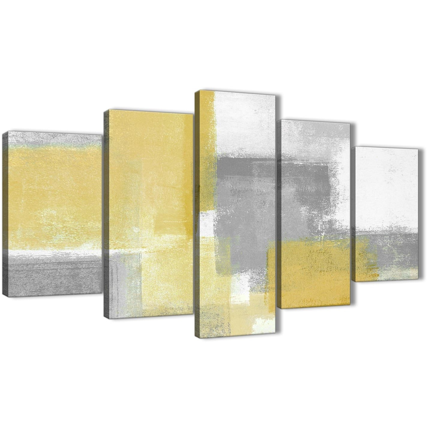 5 Piece Mustard Yellow Grey Abstract Living Room Canvas Wall Art Pertaining To Yellow Wall Art (Photo 17 of 20)