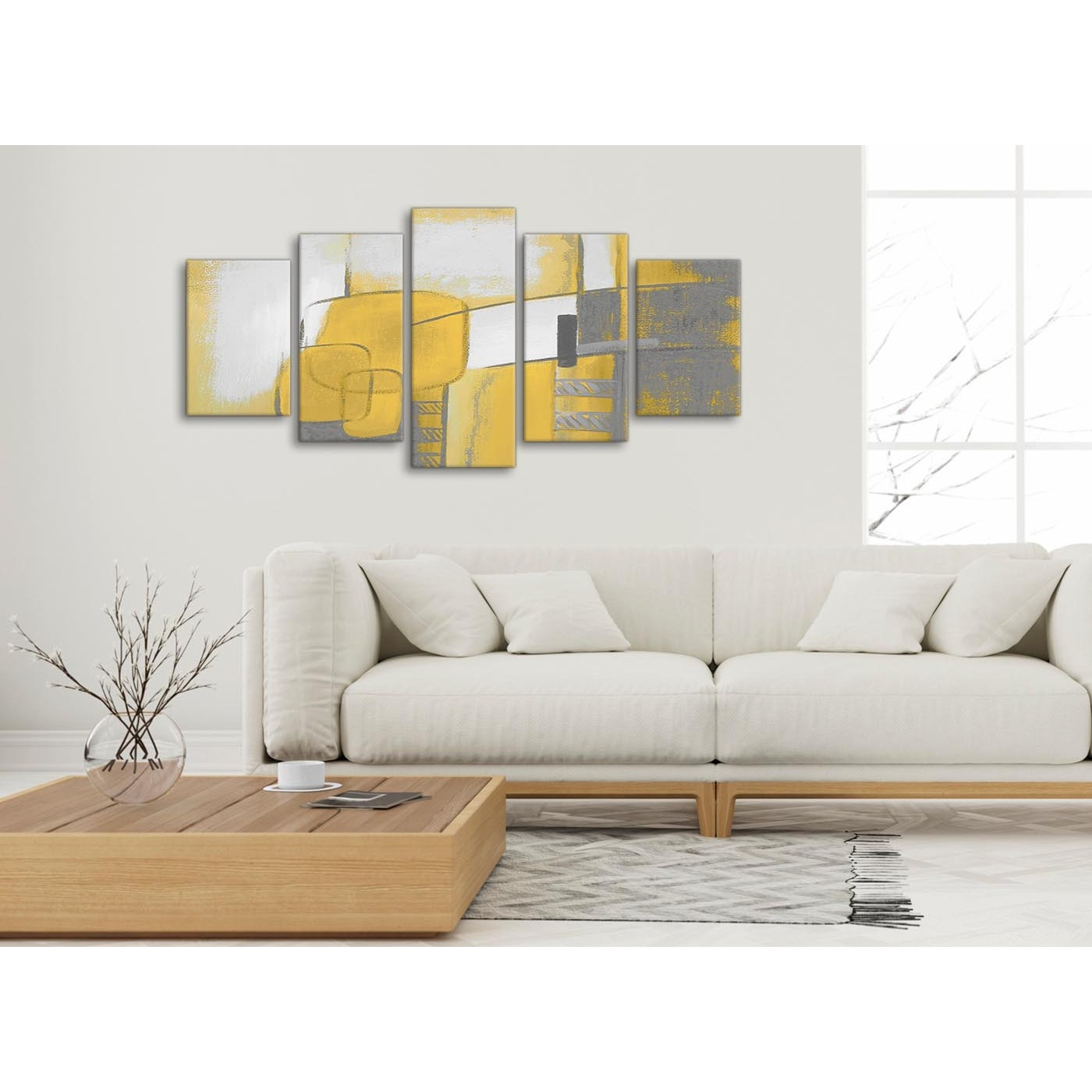 5 Piece Mustard Yellow Grey Painting Abstract Living Room Canvas Regarding Yellow And Grey Wall Art (Photo 20 of 20)