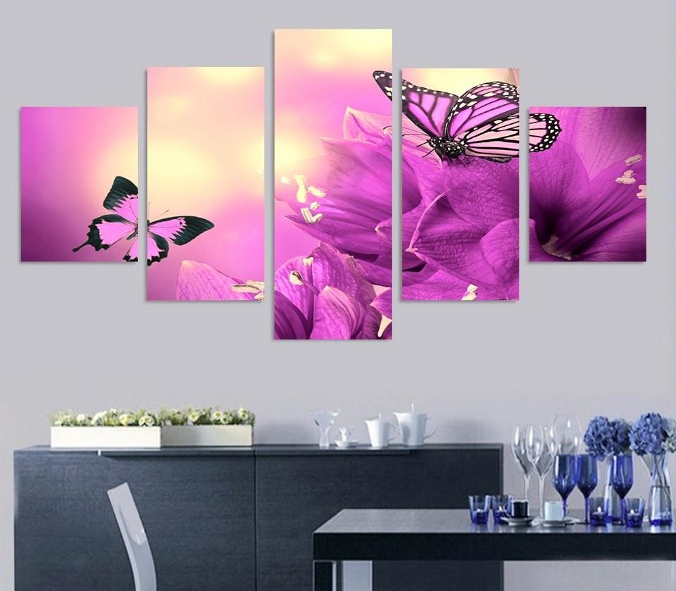 5 Piece Purple Butterfly Flowers Wall Art Canvas Pictures Photo On With Purple Wall Art Canvas (Photo 17 of 20)