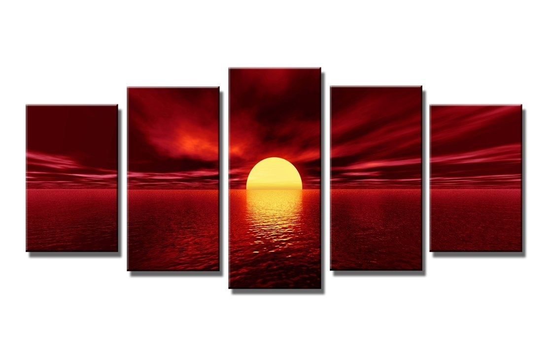 5 Piece Red Sky Beach Sunset Modern Canvas Wall Art Framed Ocean inside Red Canvas Wall Art (Image 6 of 20)