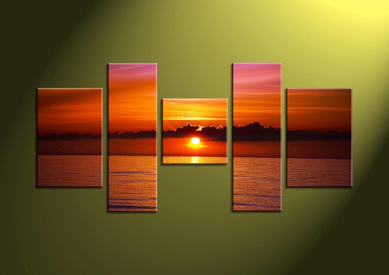 5 Piece Red Sunset Ocean Canvas Wall Art, 5 Piece Wall Art Canvas For 5 Piece Wall Art Canvas (View 5 of 20)