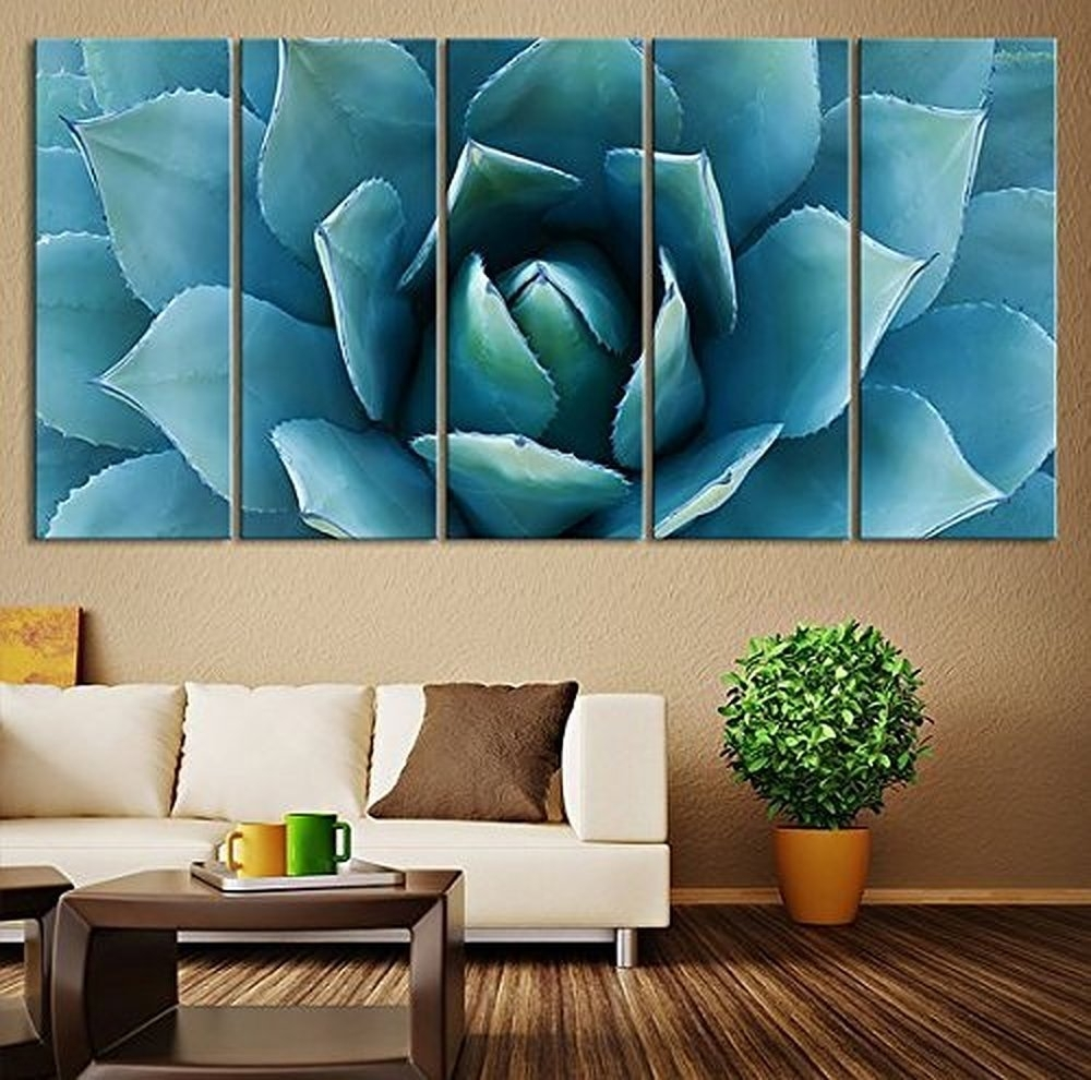 5 Piece Succulents Plants Painting Canvas Wall Art Cuadros Picture For Canvas Wall Art (Photo 11 of 20)