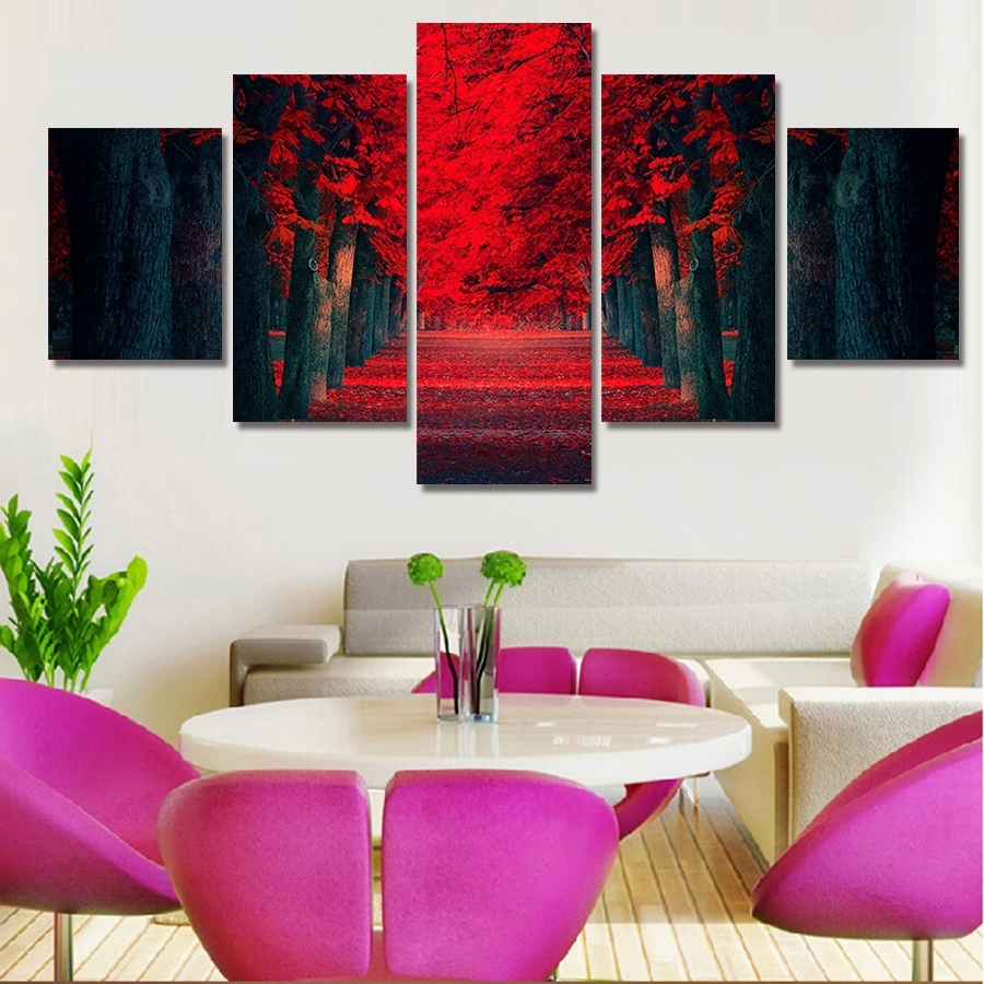 5 Piece Wall Art Beautiful Red Forest Modern Wall Painting On Canvas With Five Piece Canvas Wall Art (Photo 20 of 20)