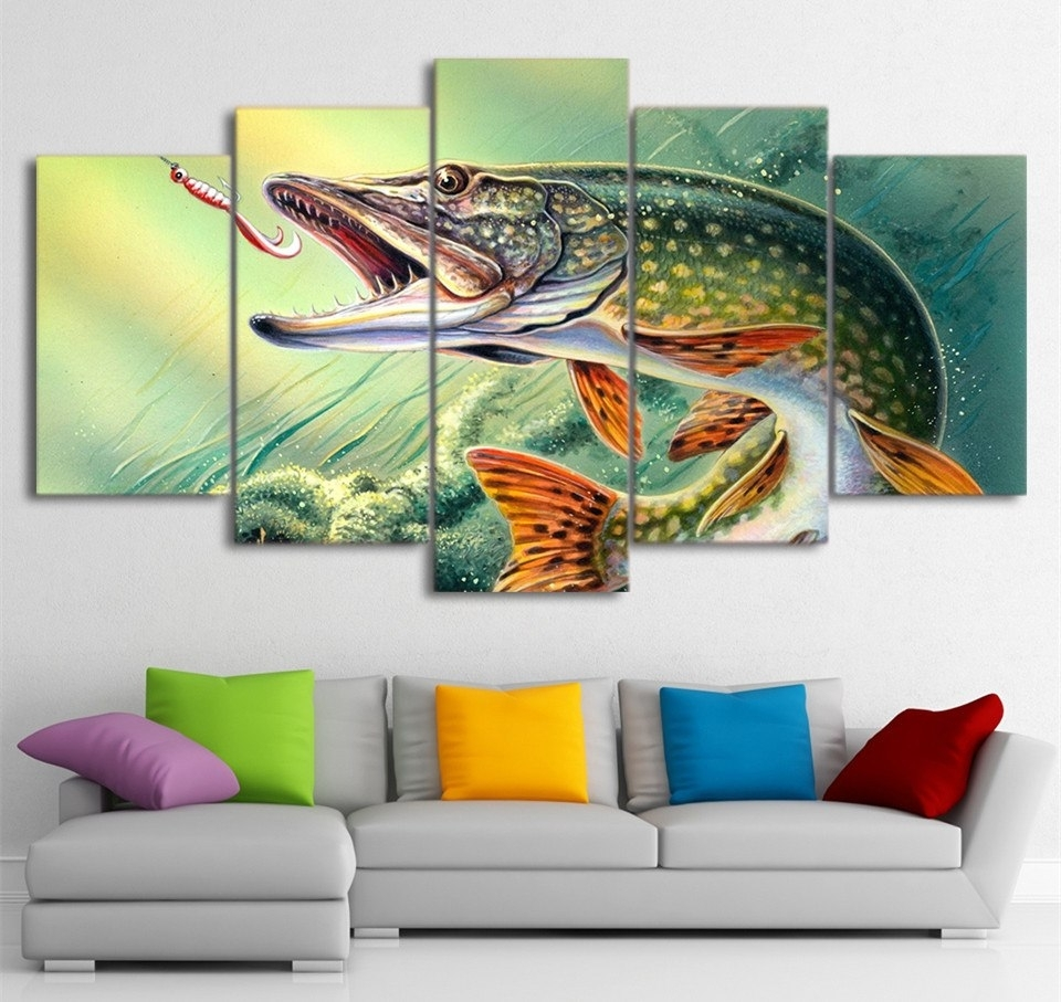 5 Piece Wall Canvas Art Fishing Hooked Pike Fish Painting Poster Intended For Wall Canvas Art (Photo 17 of 20)