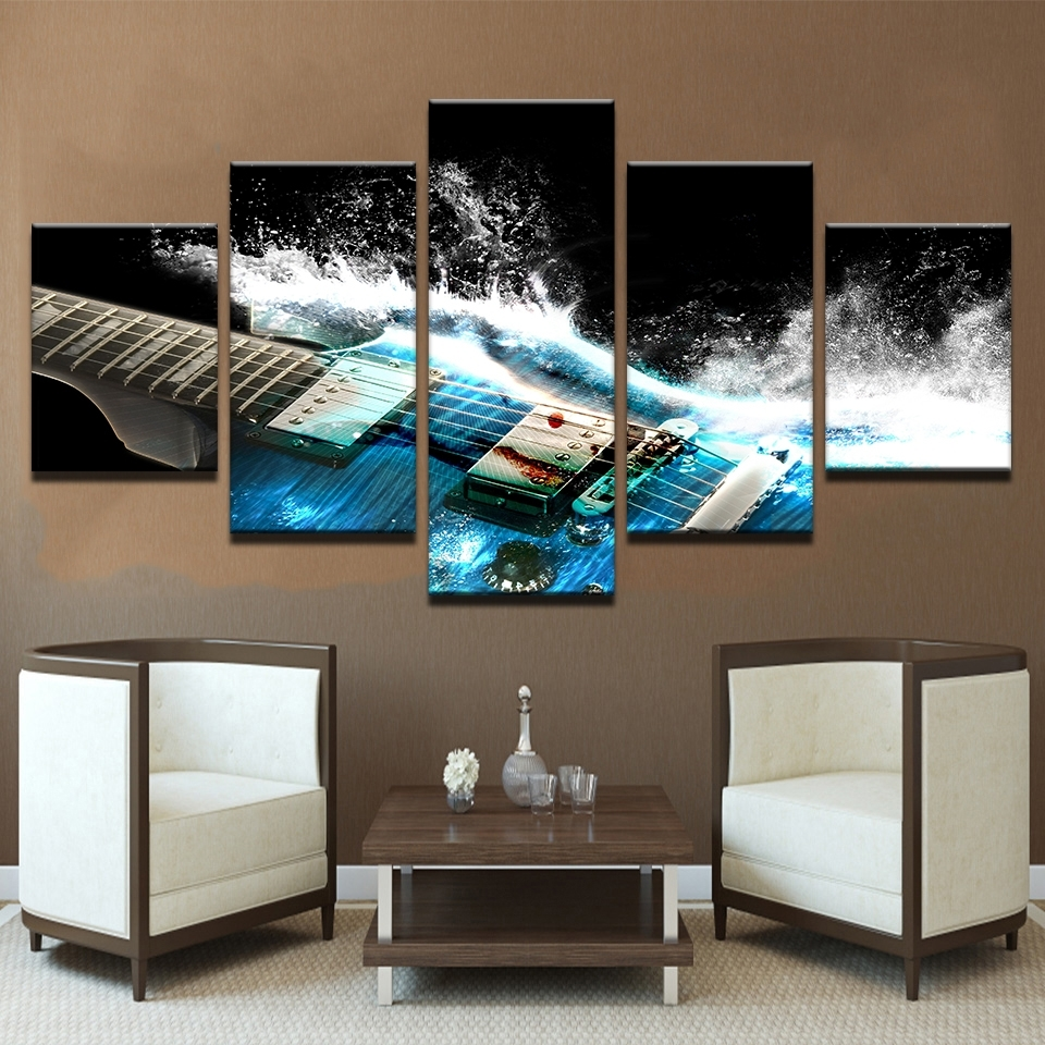 5 Pieces Abstract Blue Guitar Canvas Wall Art Pictures Home Decor Within Living Room Wall Art (Photo 19 of 20)
