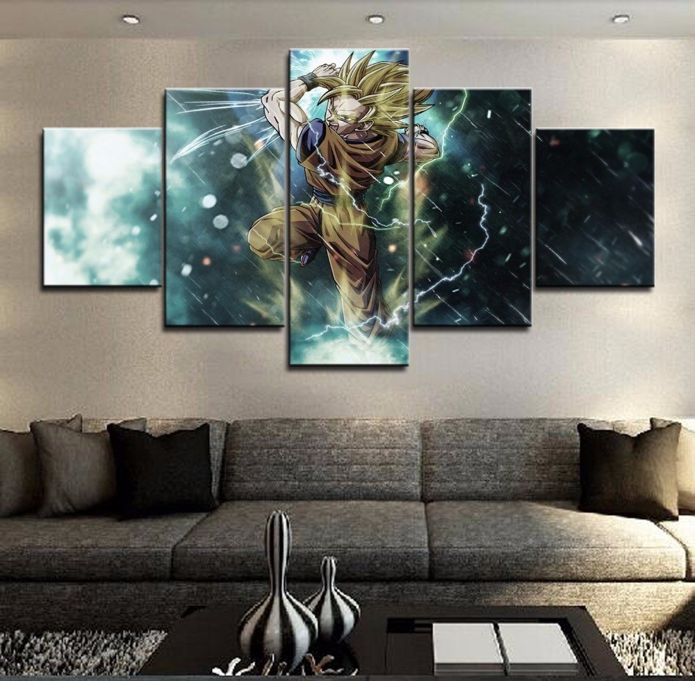 5 Pieces Canvas Prints Anime Painting Wall Art Panels Poster With Wall Art Panels (View 16 of 20)