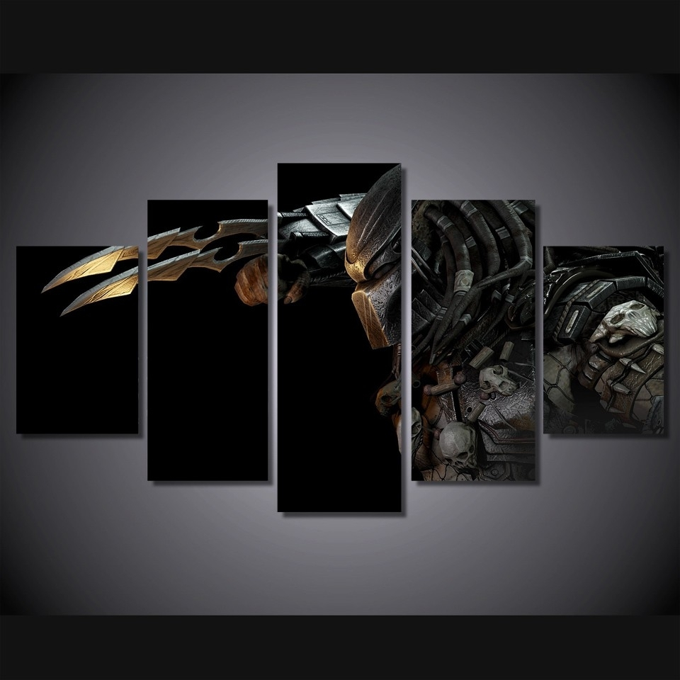 5 Pieces Canvas Prints Predator Alien Painting Wall Art Panels With Wall Art Panels (Photo 20 of 20)