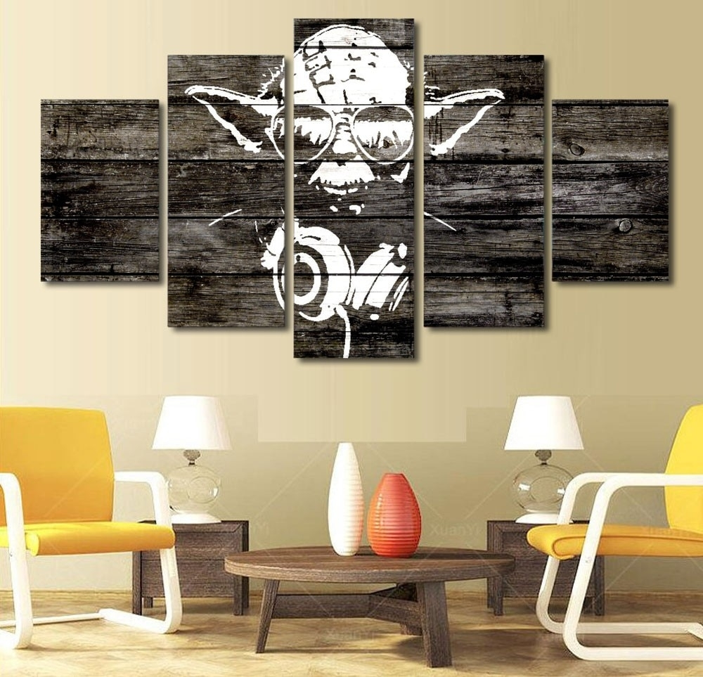 5 Pieces Canvas Prints Yoda Hot Moives Painting Wall Art Home Decor throughout 5 Piece Canvas Wall Art (Image 5 of 20)