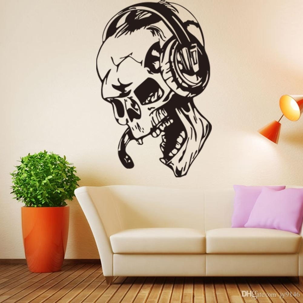 57*87Cm Skull Listening Music Wall Mural Pvc Personality Wall intended for Music Wall Art (Image 1 of 20)