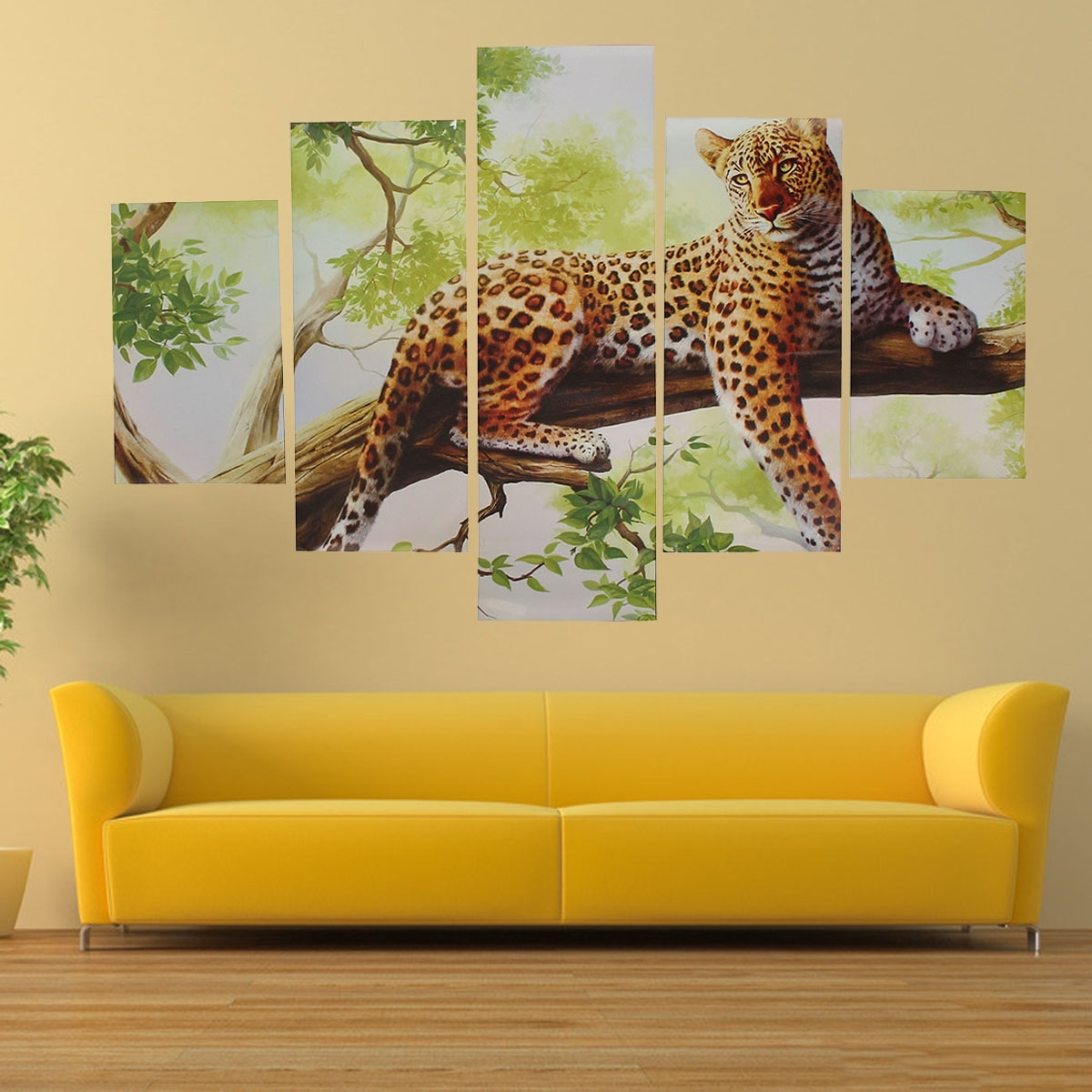 5Pcs Combination Canvas Print Painting Leopard Modern Wall Art For Home Wall Art (Photo 11 of 20)