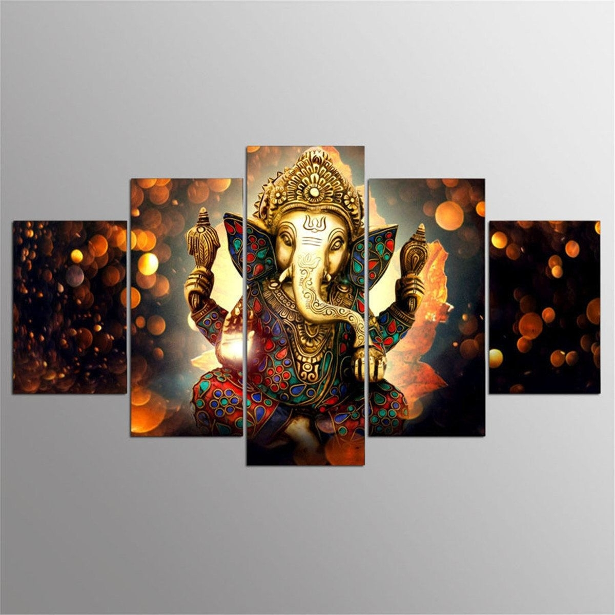 5Pcs Ganesha Painting Abstract Print Modern Canvas Wall Art Poster inside Modern Canvas Wall Art (Image 6 of 20)