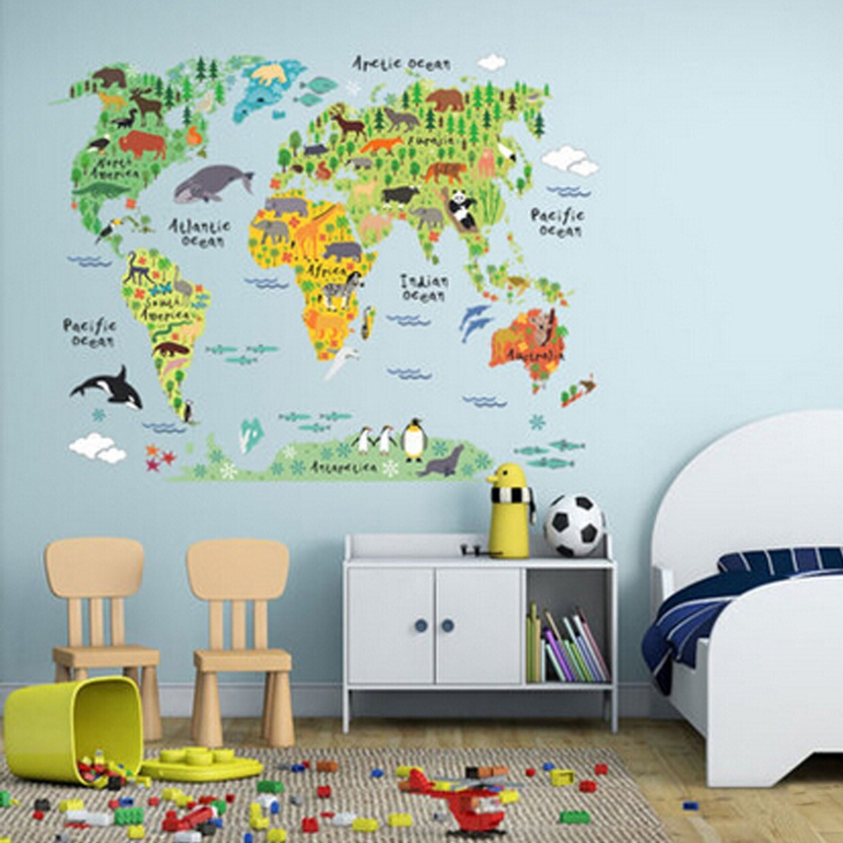 60*90cm Pvc Colorful Animal Travel World Map Kids Room Decor Wall For Wall Art Stickers World Map (View 14 of 20)