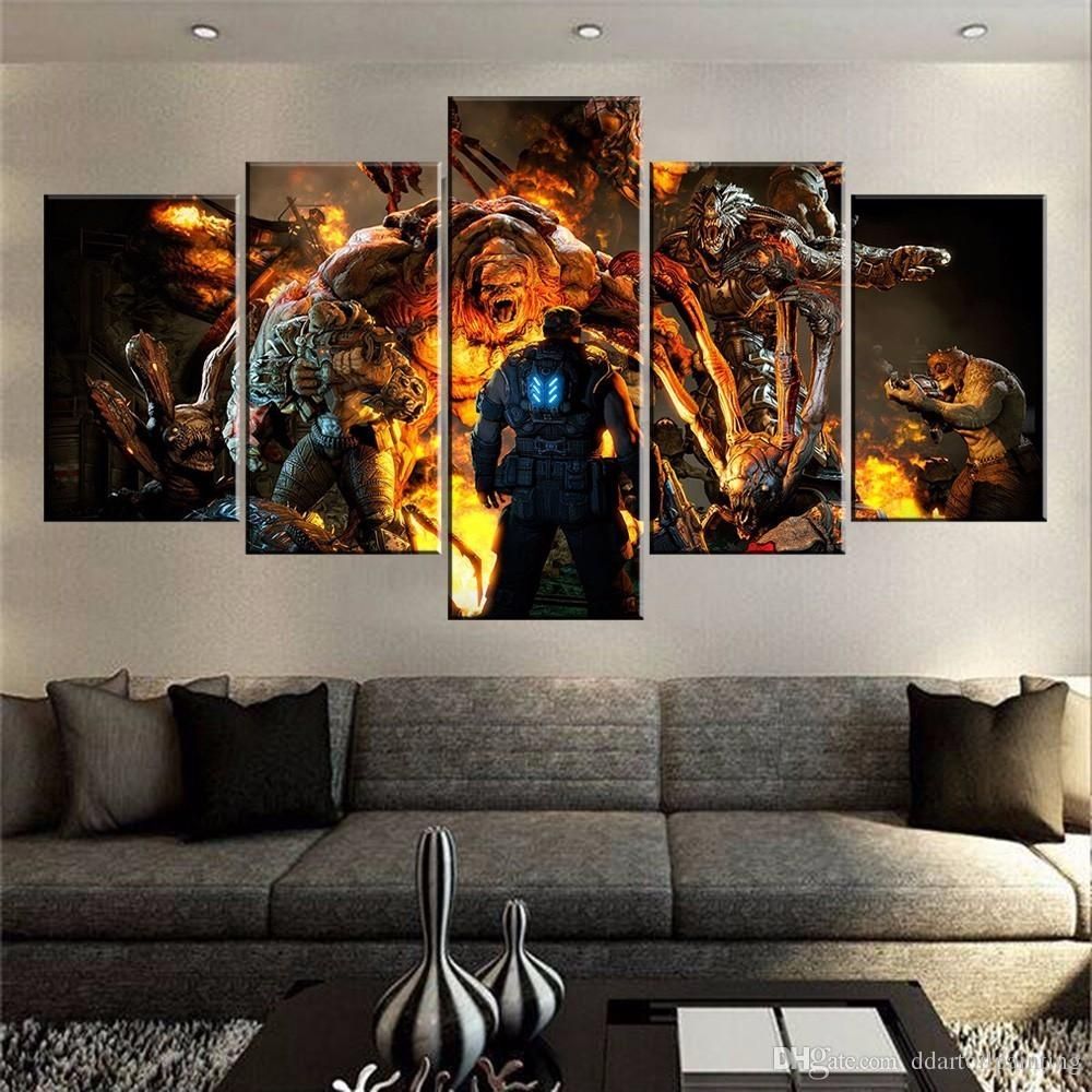 60X32 Canvas Art Print, 5 Panels Game Living Room Wall Art, Gears Of intended for Cheap Large Canvas Wall Art (Image 6 of 20)