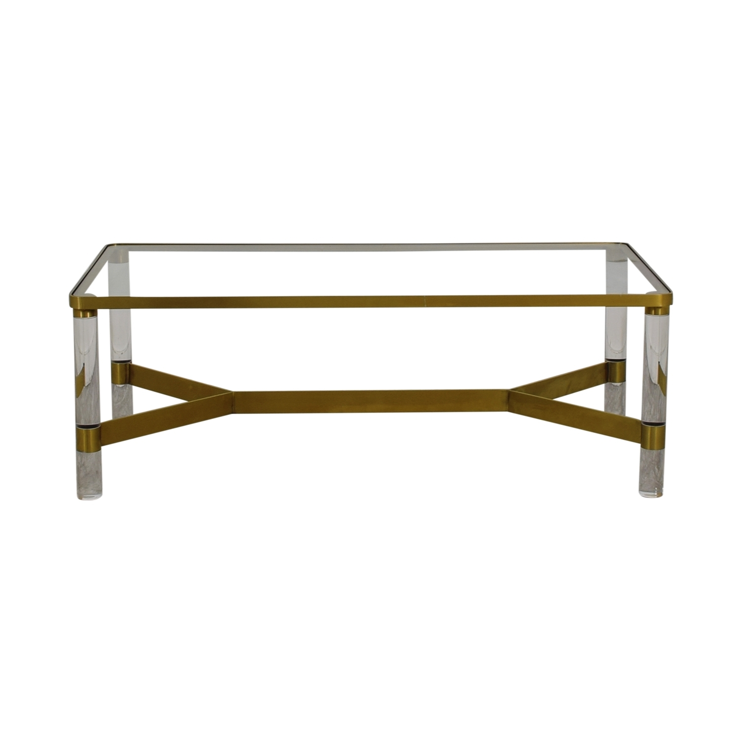 67% Off - Anthropologie Anthropologie Oscarine Glass Acrylic & Brass throughout Acrylic & Brushed Brass Coffee Tables (Image 1 of 20)