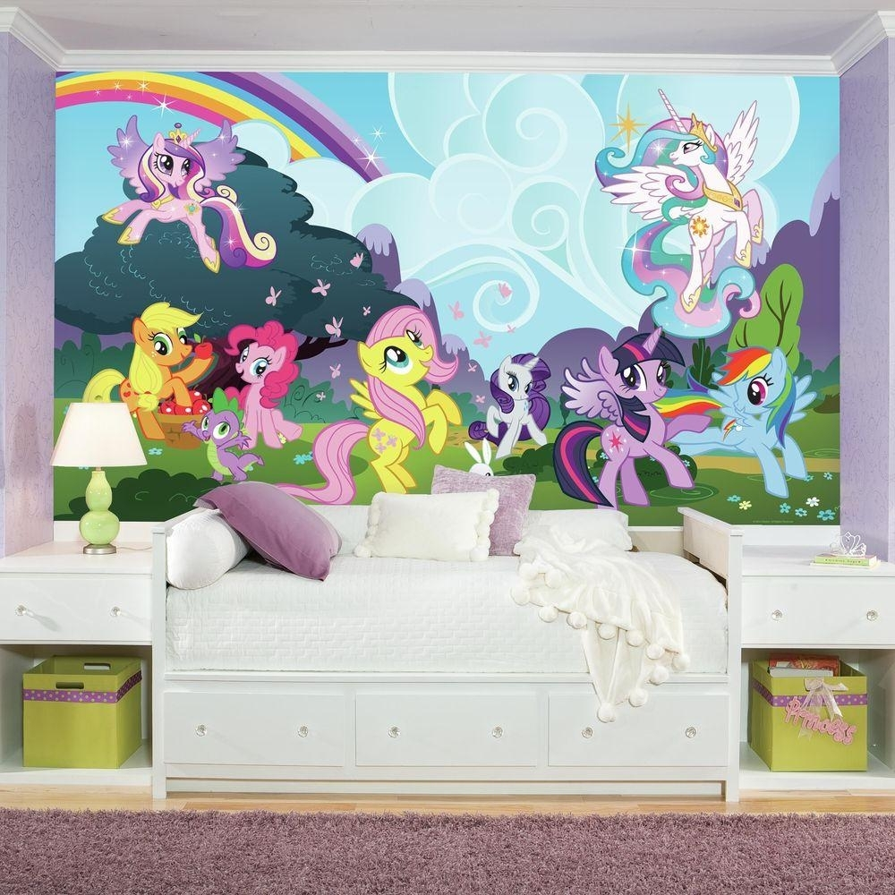 72 In. X 126 In. My Little Pony Ponyville Xl Chair Rail Prepasted Regarding My Little Pony Wall Art (Photo 9 of 20)