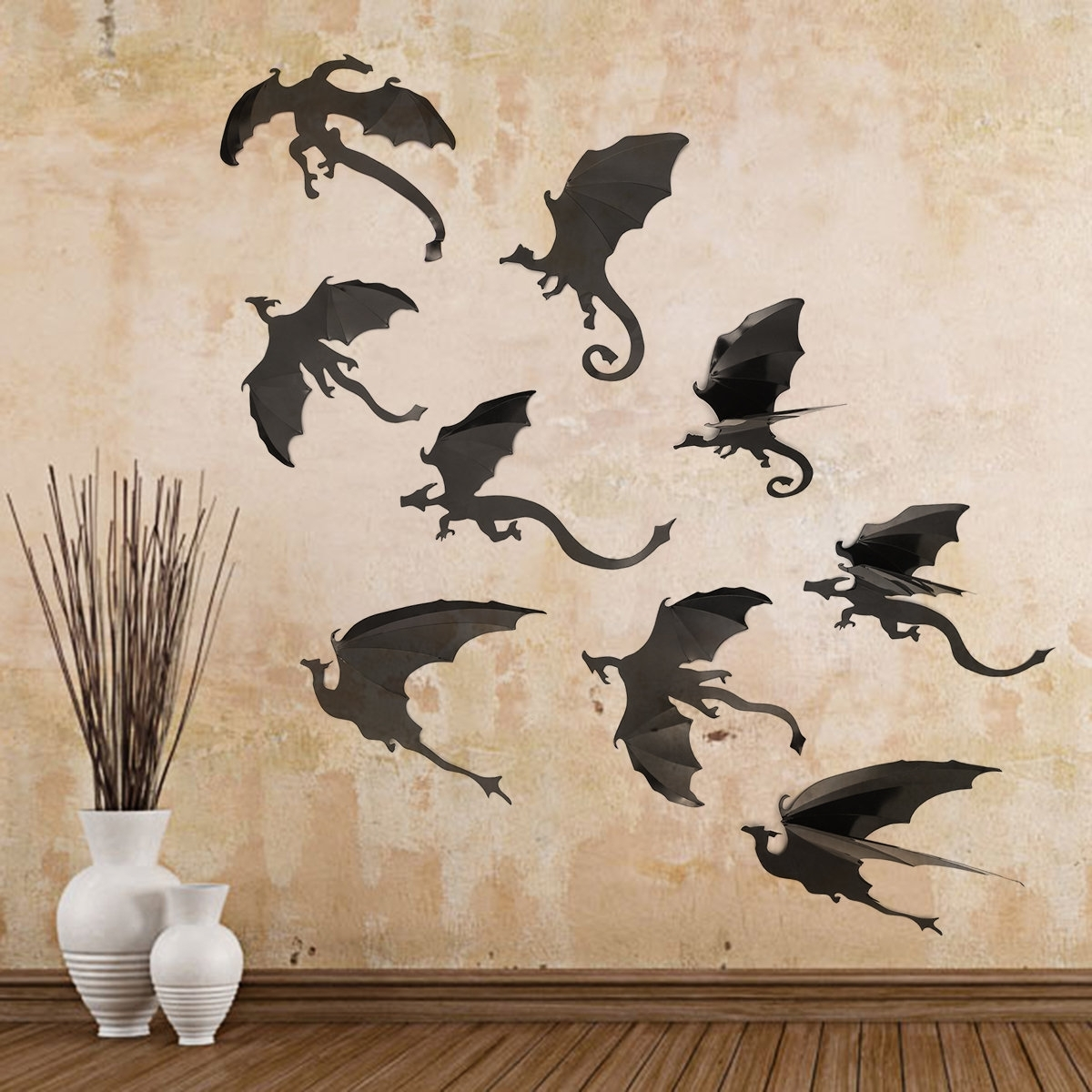 7Pcs/set Halloween Decoration Pvc Wall Stickers 3D Dragon Decorative In Dragon Wall Art (Photo 5 of 20)