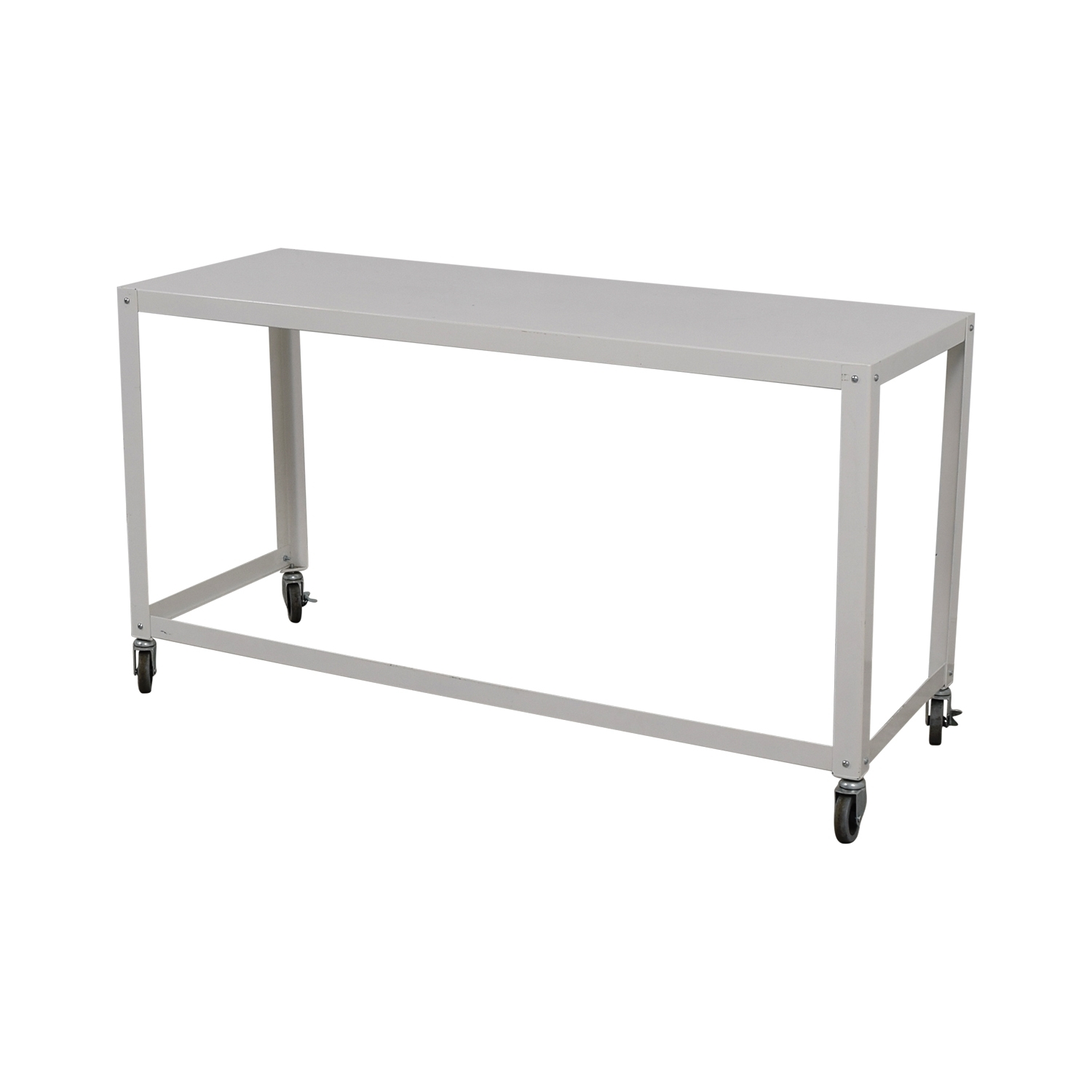 81% Off - Cb2 Cb2 Go-Cart White Rolling Desk / Tables intended for Go-Cart White Rolling Coffee Tables (Image 3 of 30)