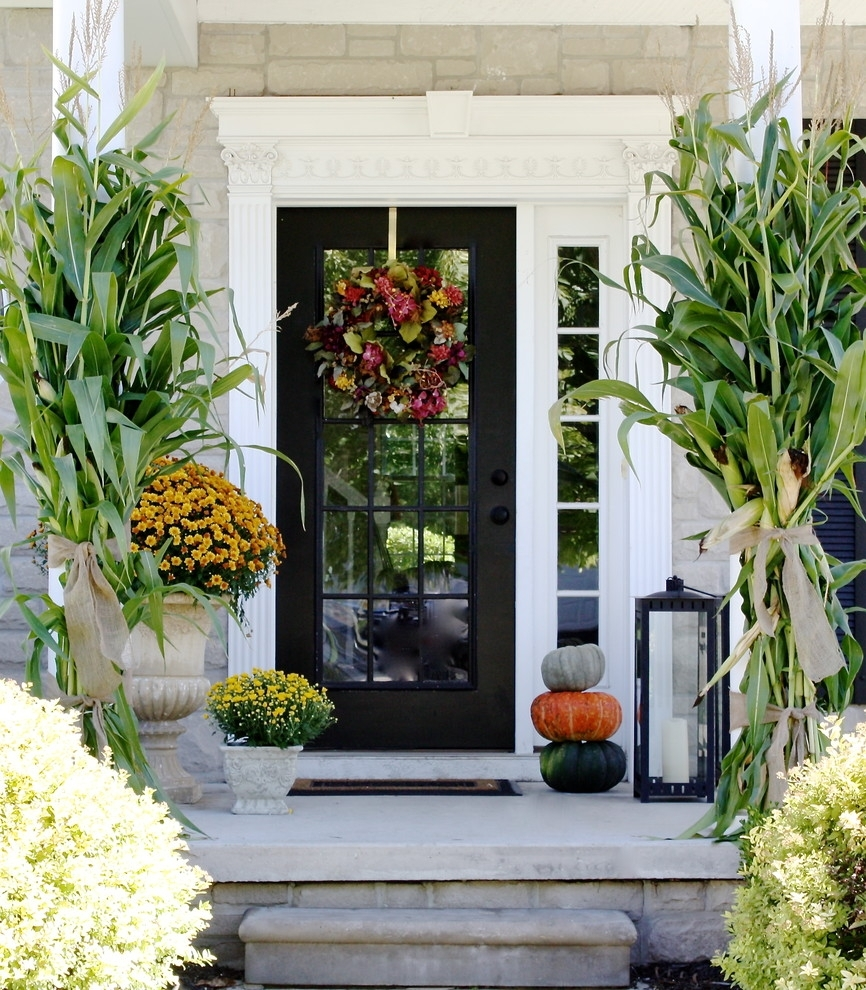 85 Pretty Autumn Porch Décor Ideas - Digsdigs with Outdoor Lanterns For Front Door (Image 4 of 20)