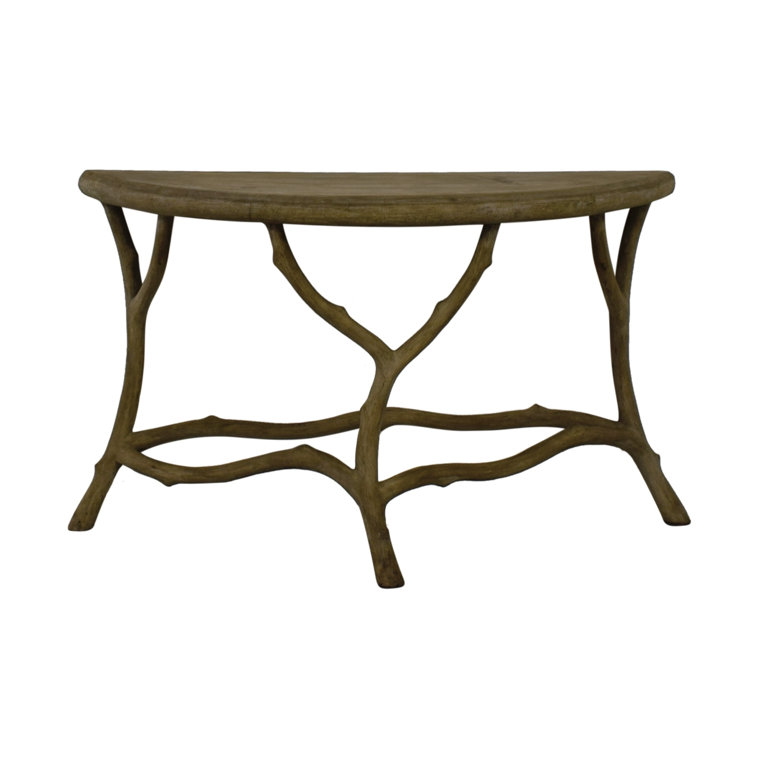 90% Off - Horchow Horchow Grey Faux Bois Half Table / Tables intended for Faux Bois Coffee Tables (Image 2 of 30)