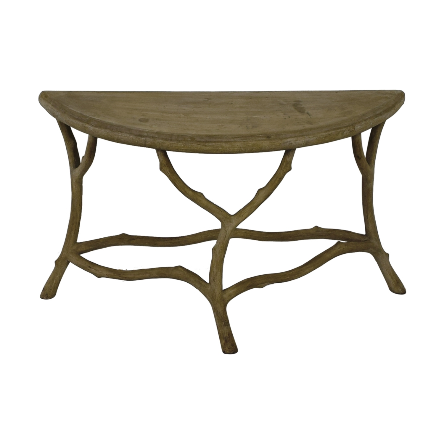 90% Off - Horchow Horchow Grey Faux Bois Half Table / Tables regarding Faux Bois Coffee Tables (Image 3 of 30)