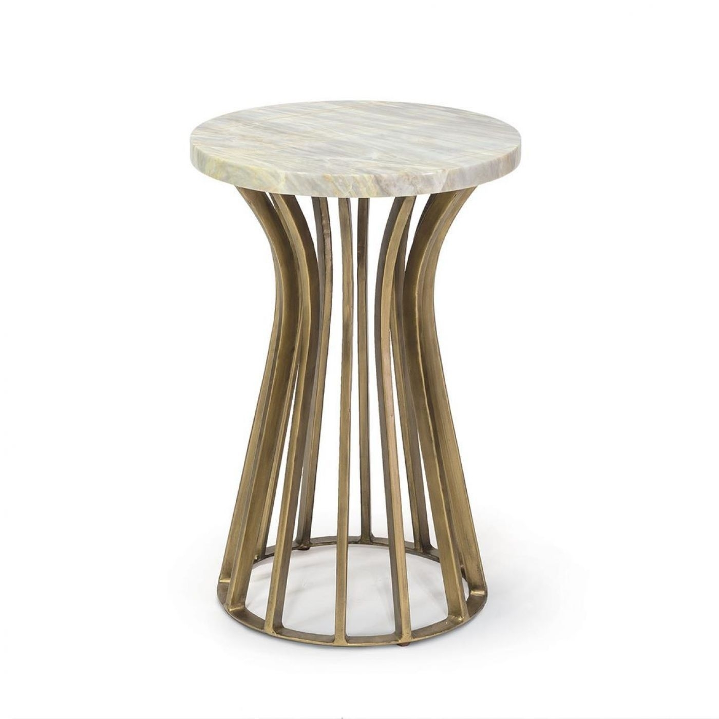 A Gold Wrought Iron Side Table Featuring A Marble Top (Image 3 of 30)