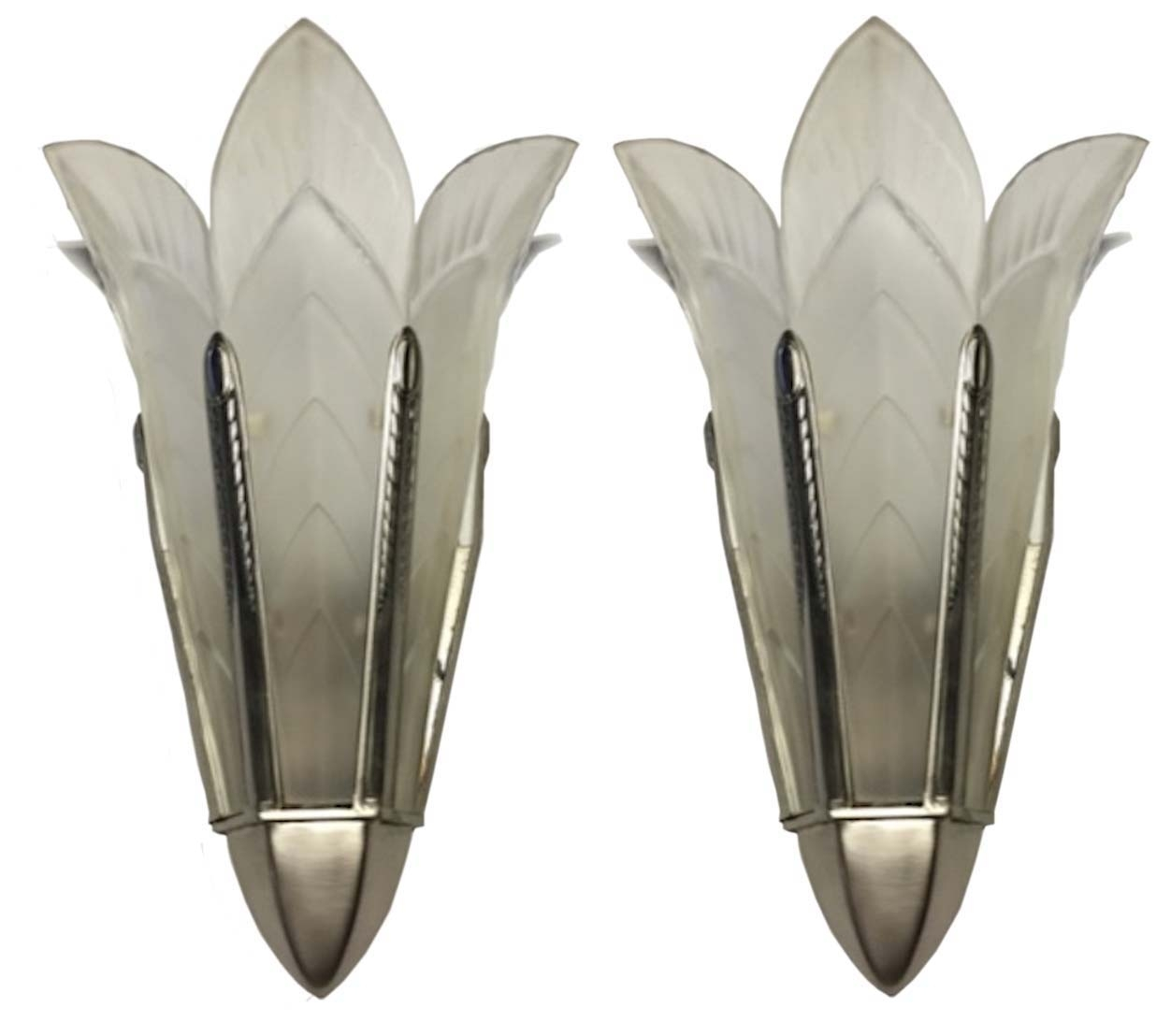 A Pair Of Signed Sabino French Art Deco Wall Sconces | Modernism within Art Deco Wall Sconces (Image 2 of 20)