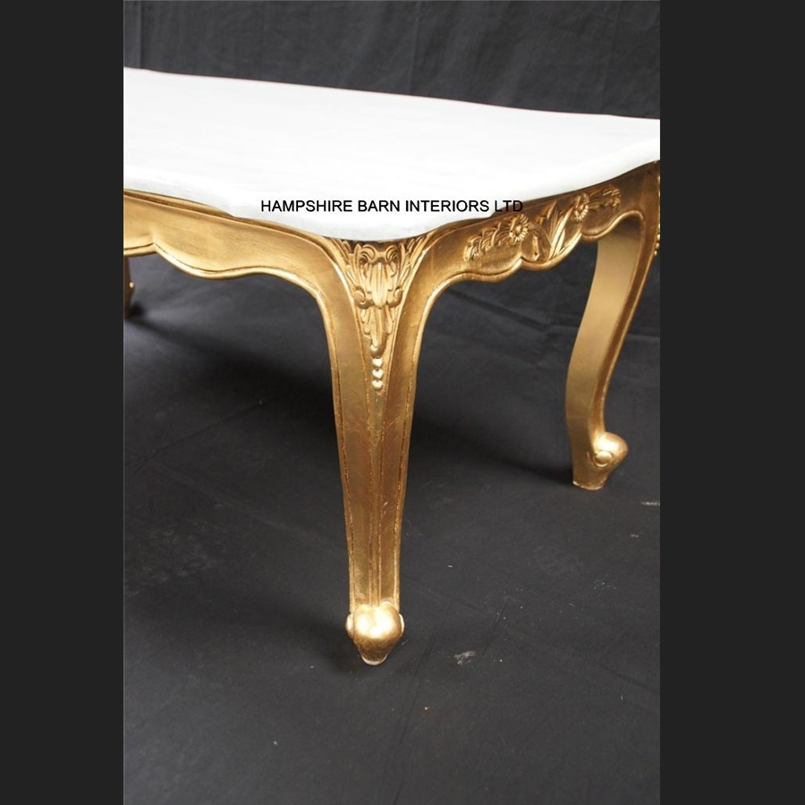 A Ritz Gold Leaf Ornate Coffee Table White Marble Top French Louis throughout Gold Leaf Collection Coffee Tables (Image 3 of 30)