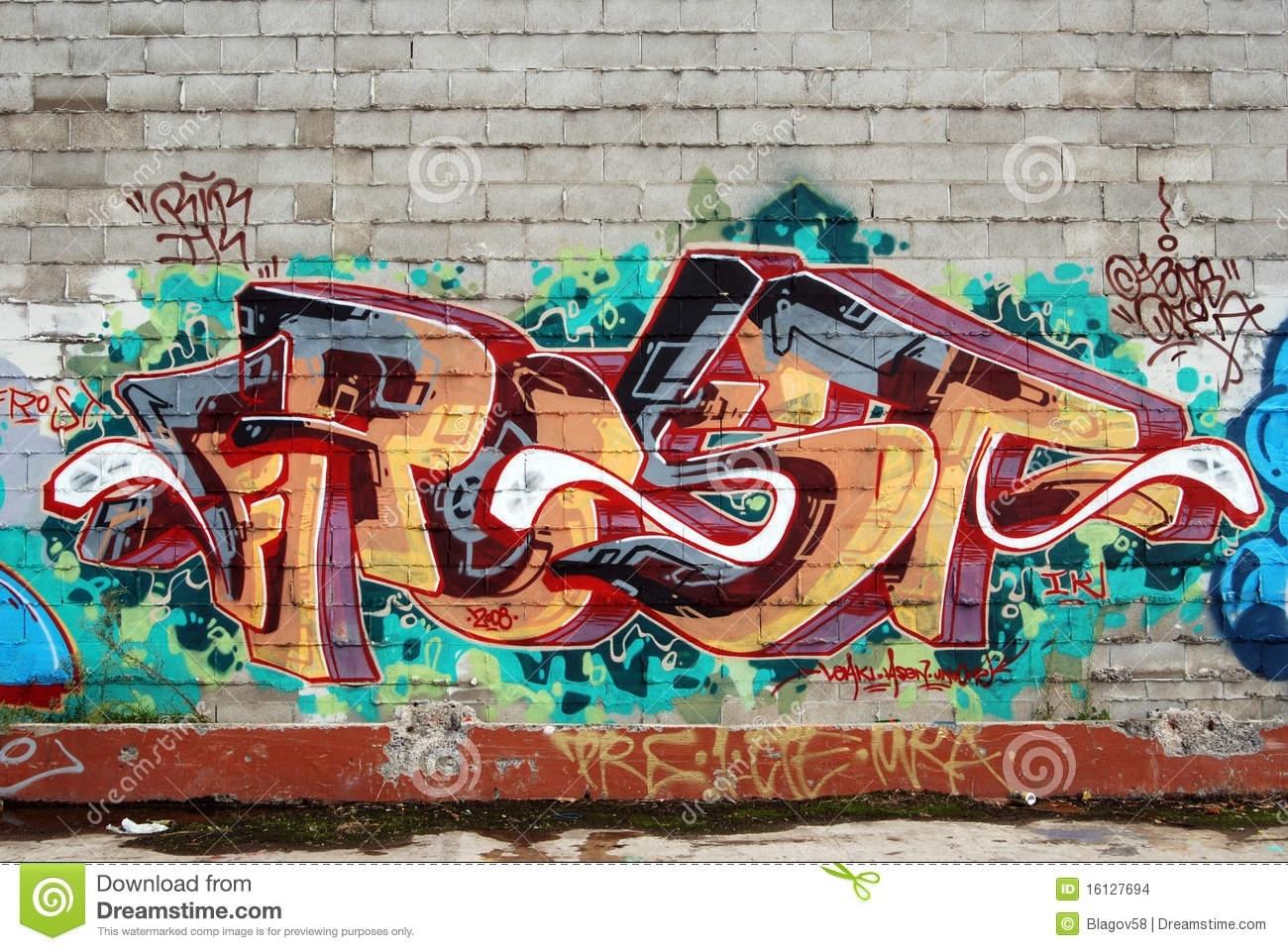 A Wall Vandalized With Street Graffiti Art Stock Photo – Image Of Inside Graffiti Wall Art (View 16 of 20)