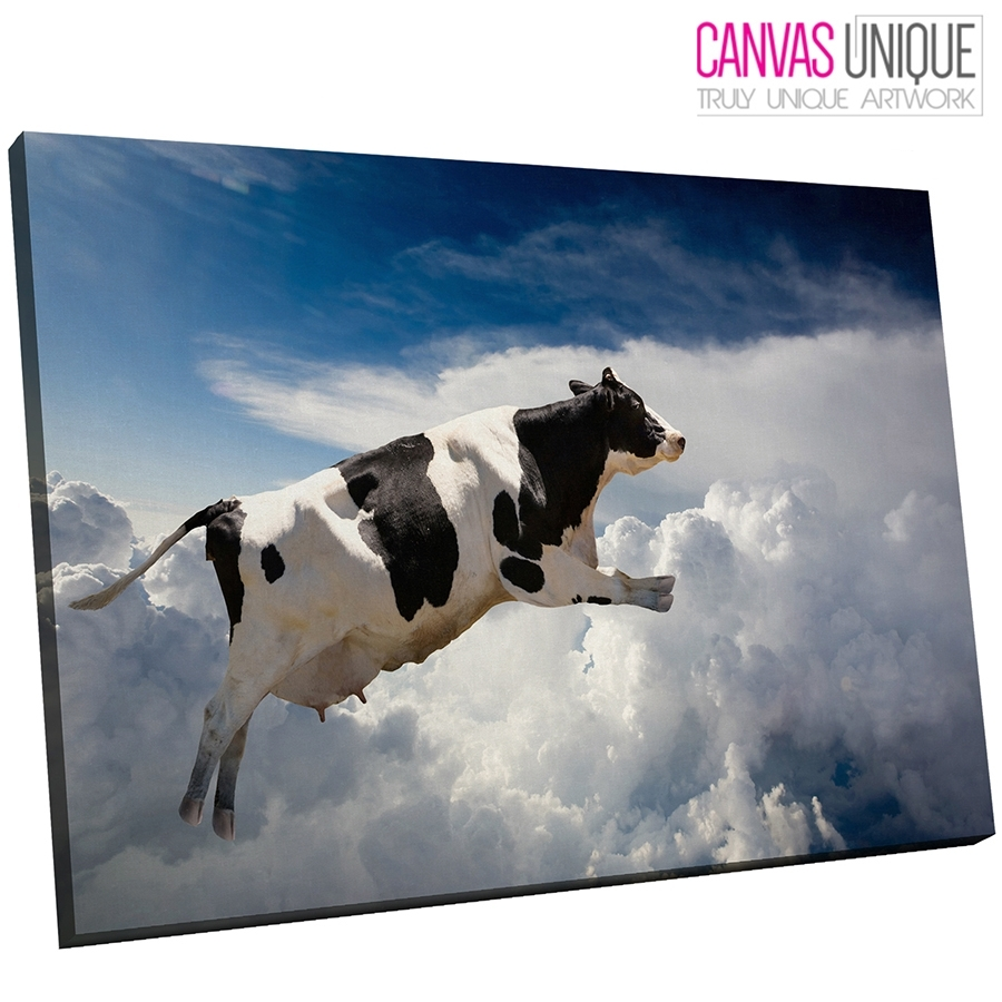 A124 Black White Flying Cow Blue Sky Animal Canvas Wall Art Framed Regarding Cow Canvas Wall Art (View 3 of 20)