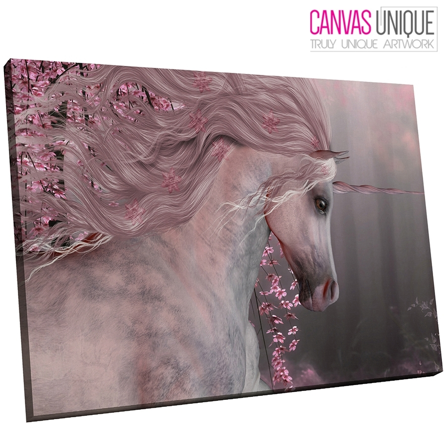 A770 Pink Floral Unicorn Forest Animal Canvas Wall Art Framed intended for Animal Canvas Wall Art (Image 3 of 20)
