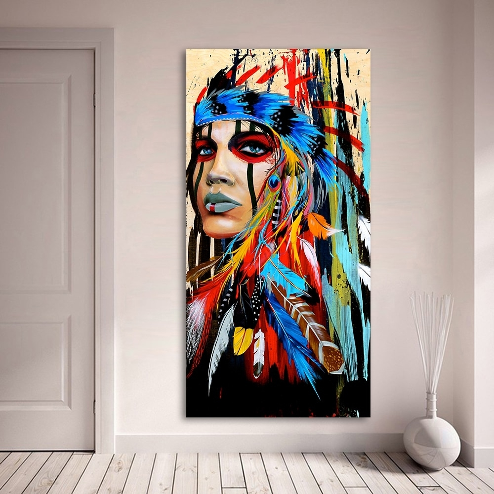 Aagg Oil Painting Wall Art Beauty Native American Indian Girl With Native American Wall Art (View 6 of 20)