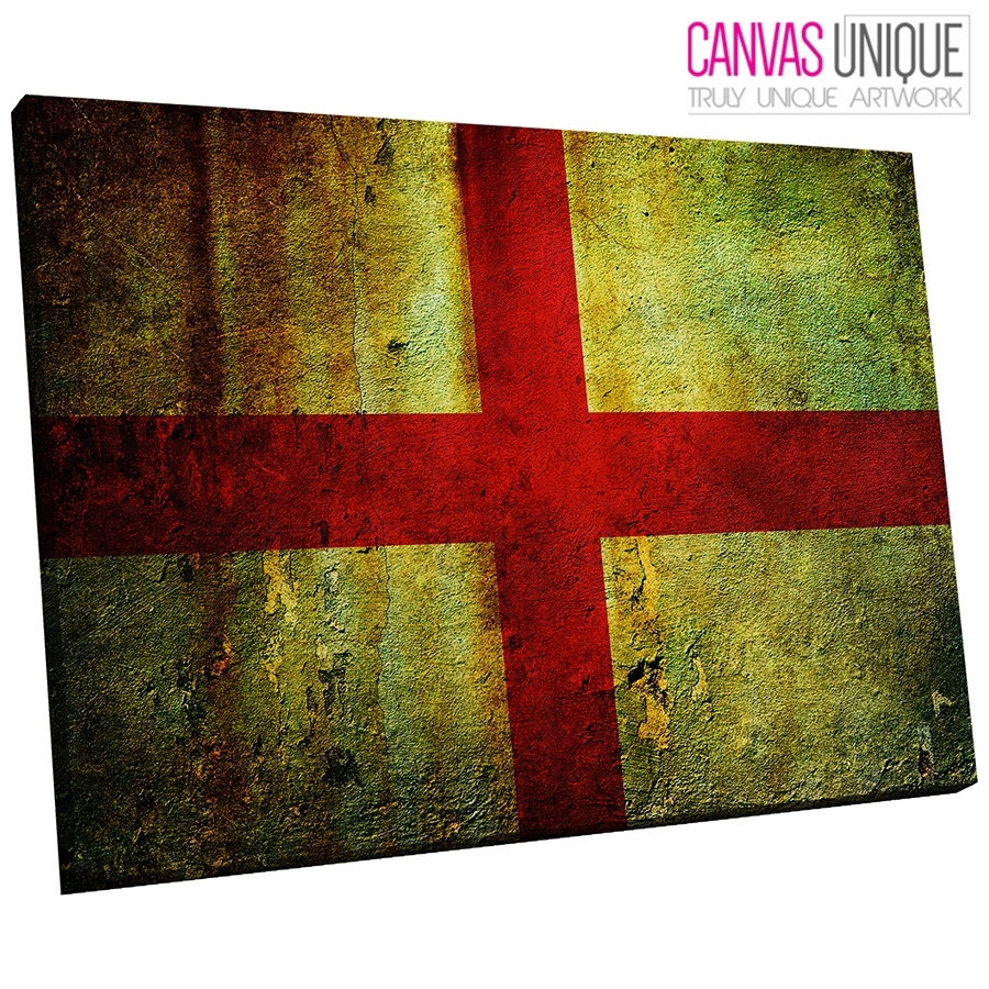 Ab143 St George Cross England Flag Abstract Canvas Wall Art Framed with regard to Abstract Wall Art (Image 3 of 20)