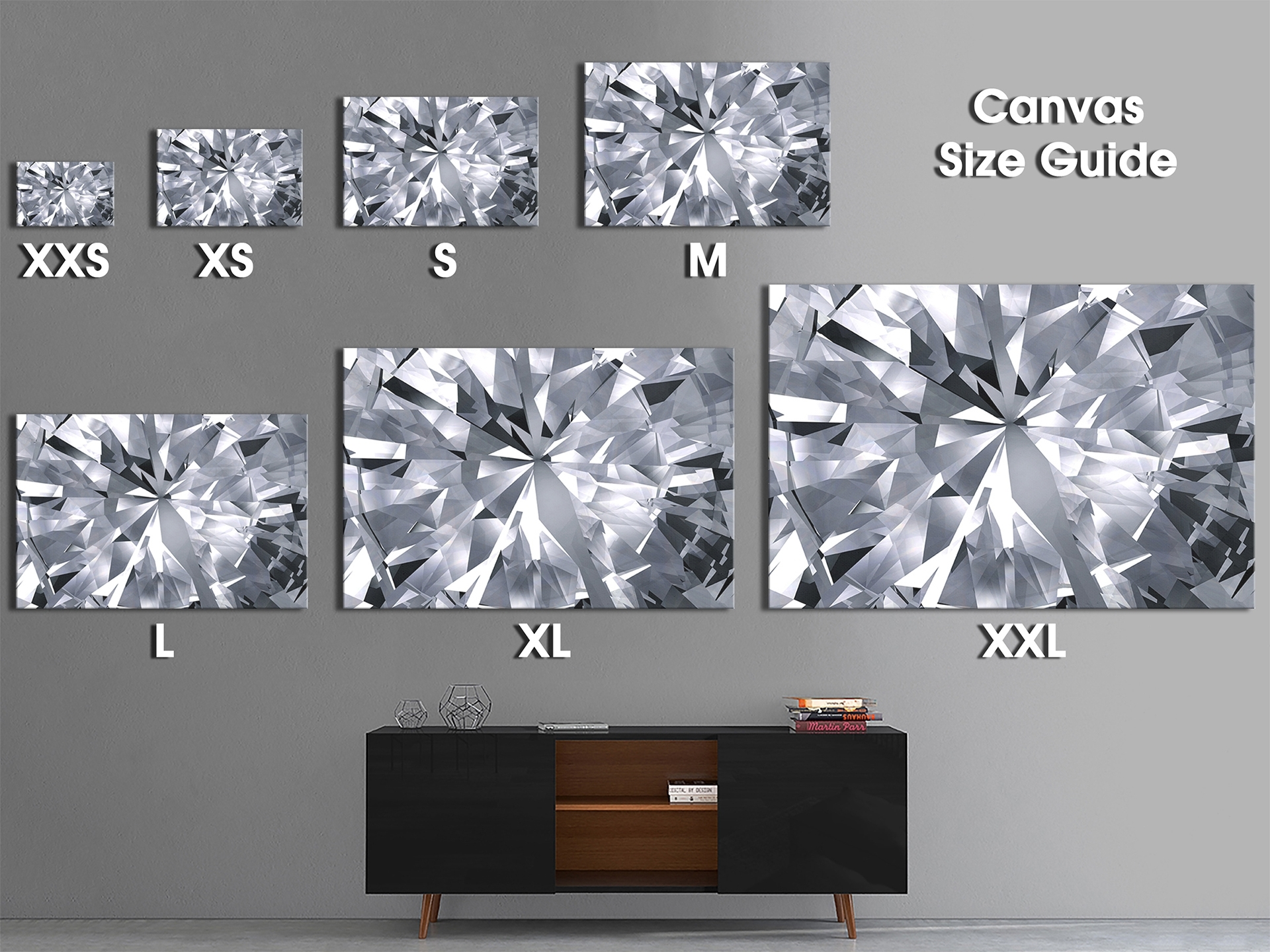 Ab1695 Grey Black White Diamond Pattern New Abstract Canvas Art intended for Grey and White Wall Art (Image 2 of 20)