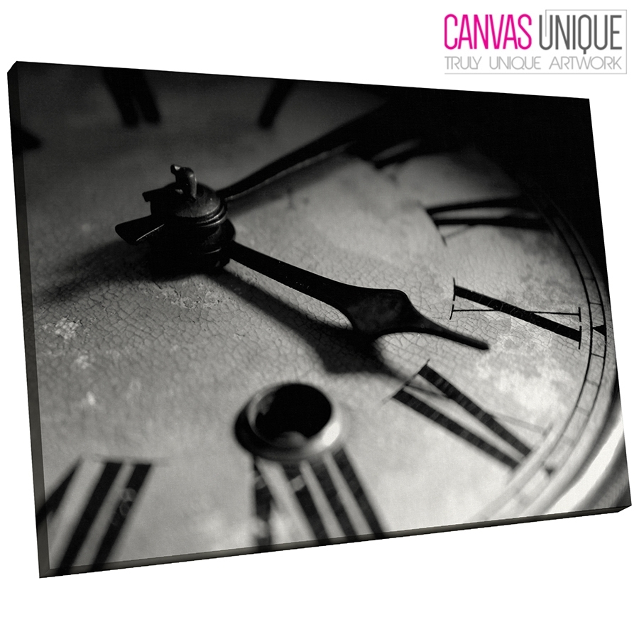 Ab232 Black White Clock Photo Abstract Canvas Wall Art Framed for Black and White Canvas Wall Art (Image 3 of 20)