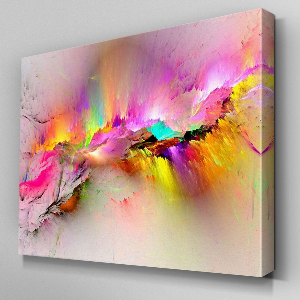 Ab970 Modern Pink Yellow Large Canvas Wall Art Abstract Picture inside Modern Large Canvas Wall Art (Image 8 of 20)