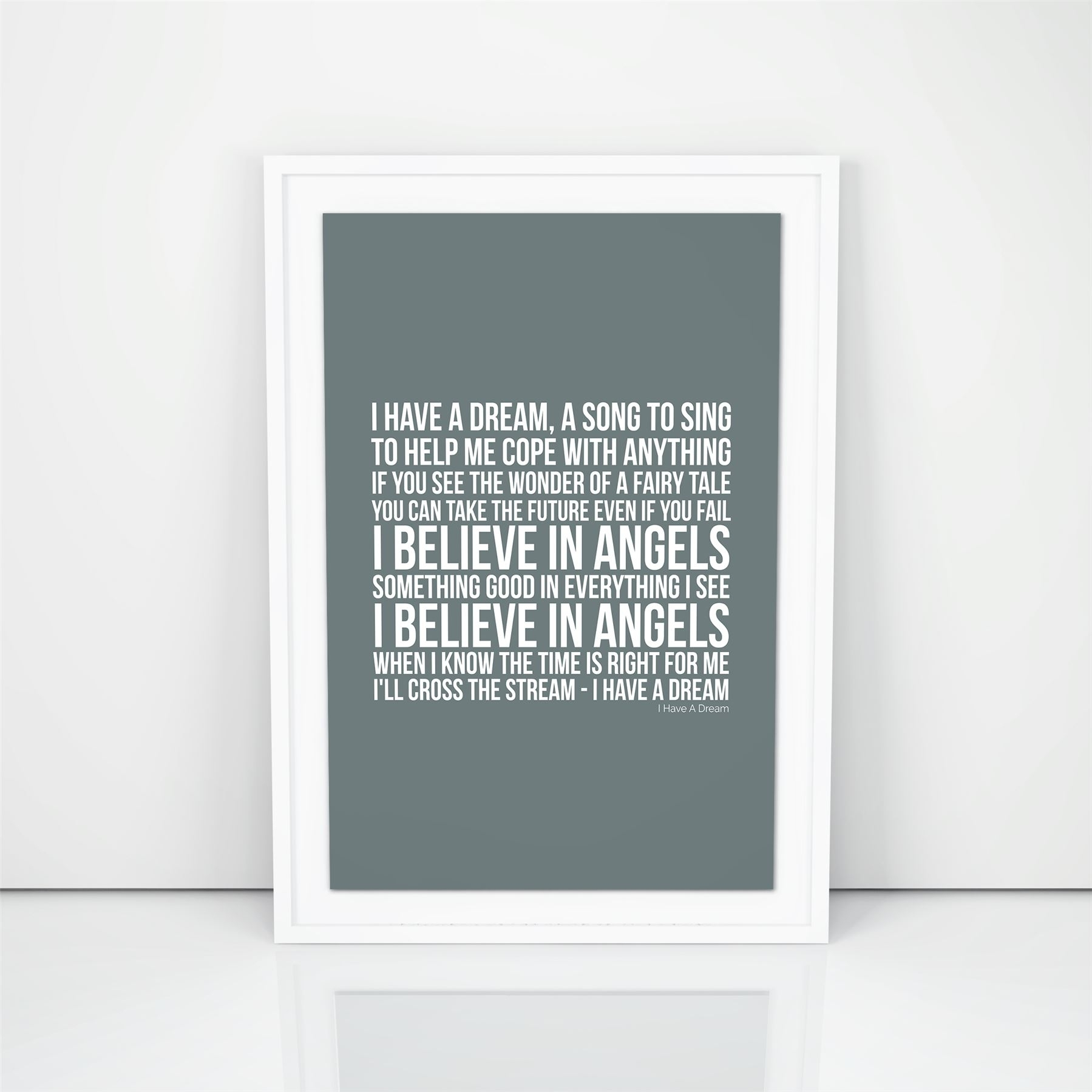 Abba I Have A Dream Lyrics Wall Art Song A4 A3 Size Picture Modern With Regard To Song Lyric Wall Art (View 1 of 20)