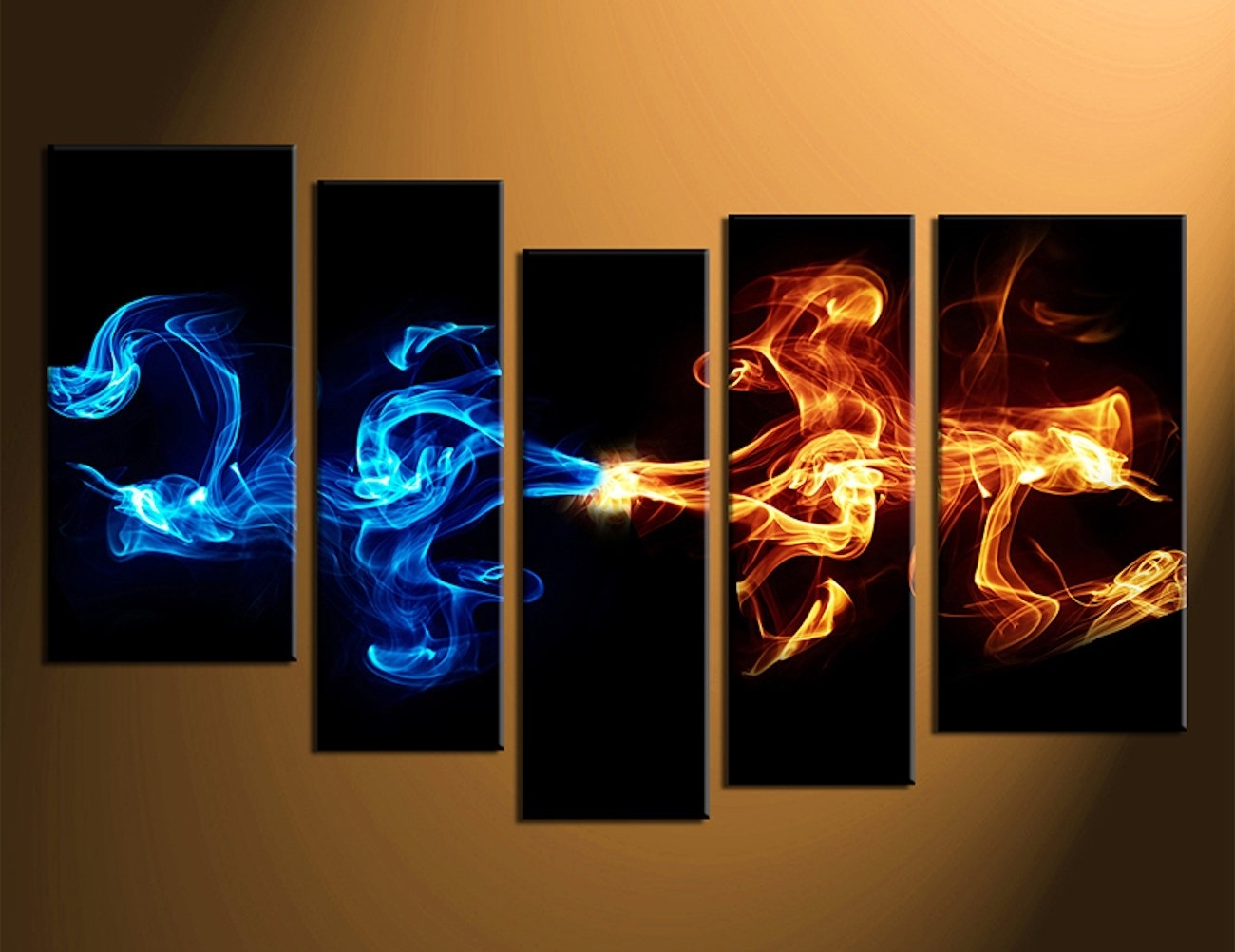 Abstract 5-Piece Smoke Canvas Wall Art » Gadget Flow with Canvas Wall Art (Image 6 of 20)