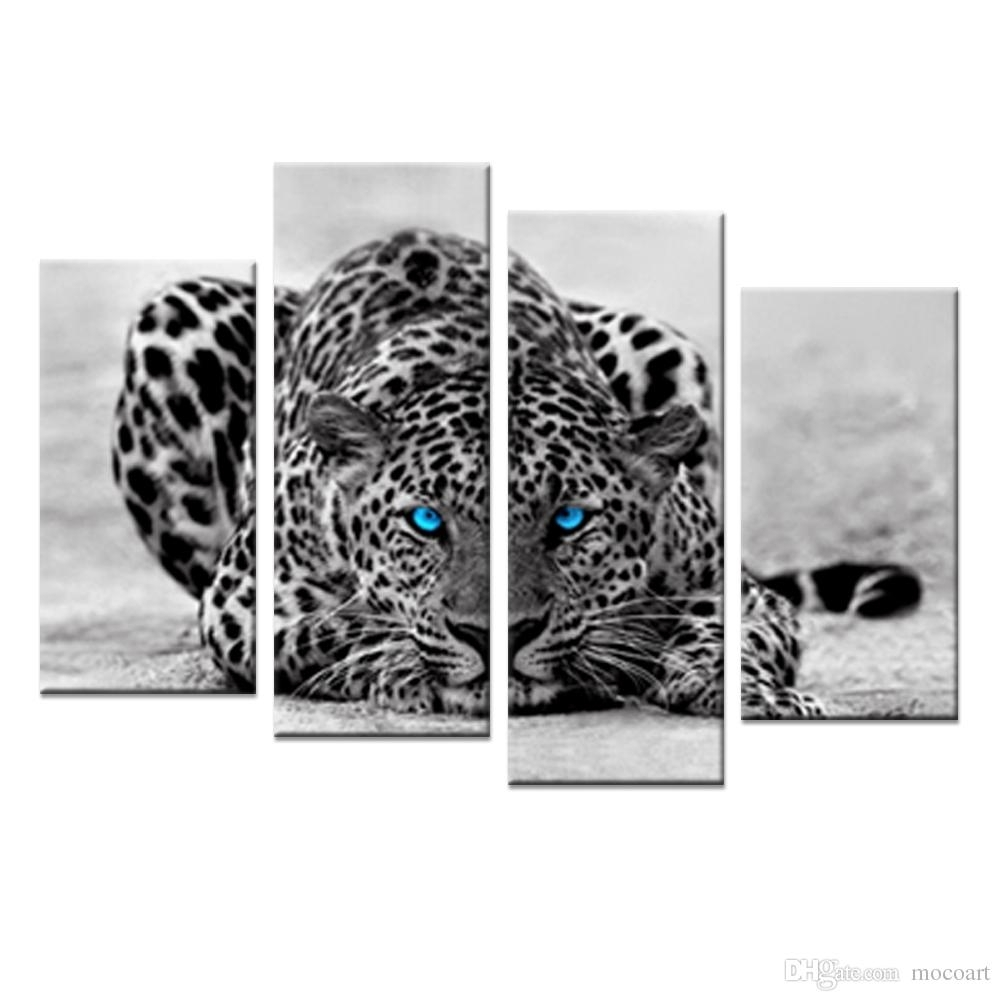 Abstract Blue Eyed Leopard Painting Black White Wall Art Animal with Black And White Canvas Wall Art (Image 4 of 20)