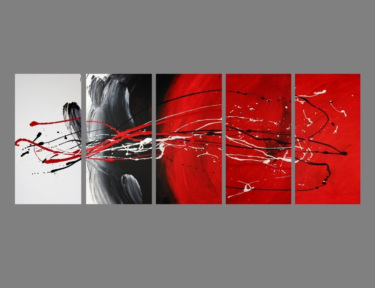 Abstract Canvas Painting Red Black White (View 5 of 20)