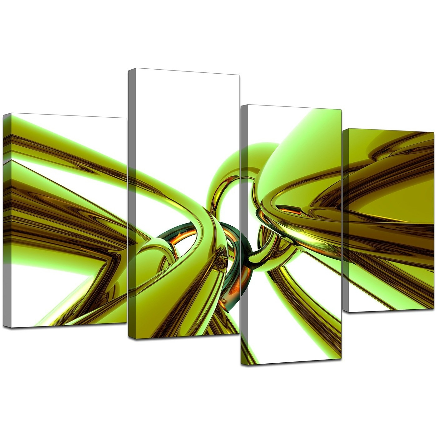 Abstract Canvas Wall Art In Green For Your Living Room - Set Of 4 regarding Green Wall Art (Image 2 of 20)