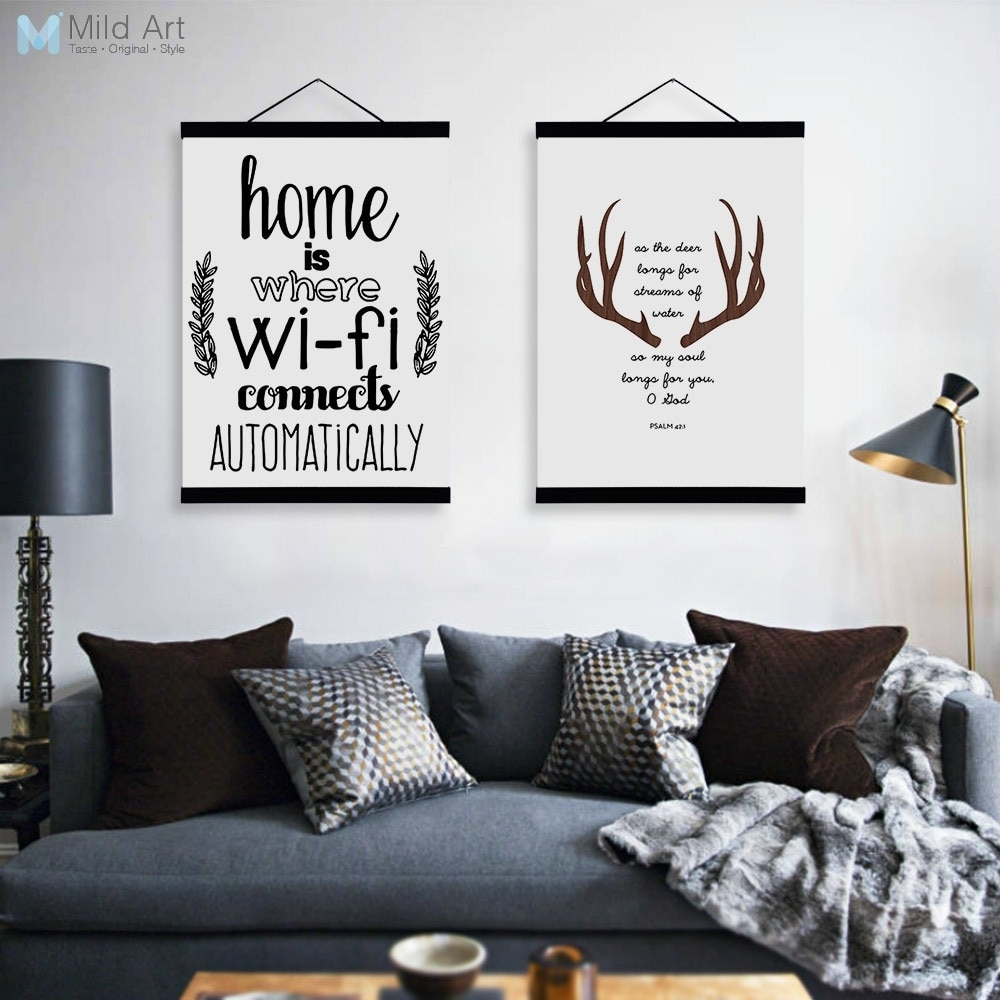 Abstract Deer Head Wifi Quotes Wooden Framed Canvas Paintings Modern within Big Wall Art (Image 3 of 20)