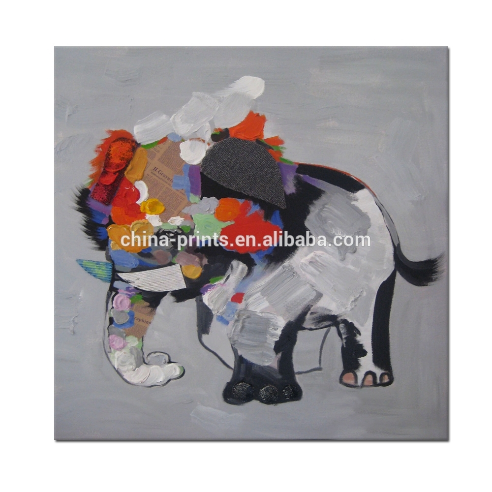Abstract Elephant Canvas Painting/cute Animal Wall Decor Art/modern with regard to Elephant Canvas Wall Art (Image 5 of 20)
